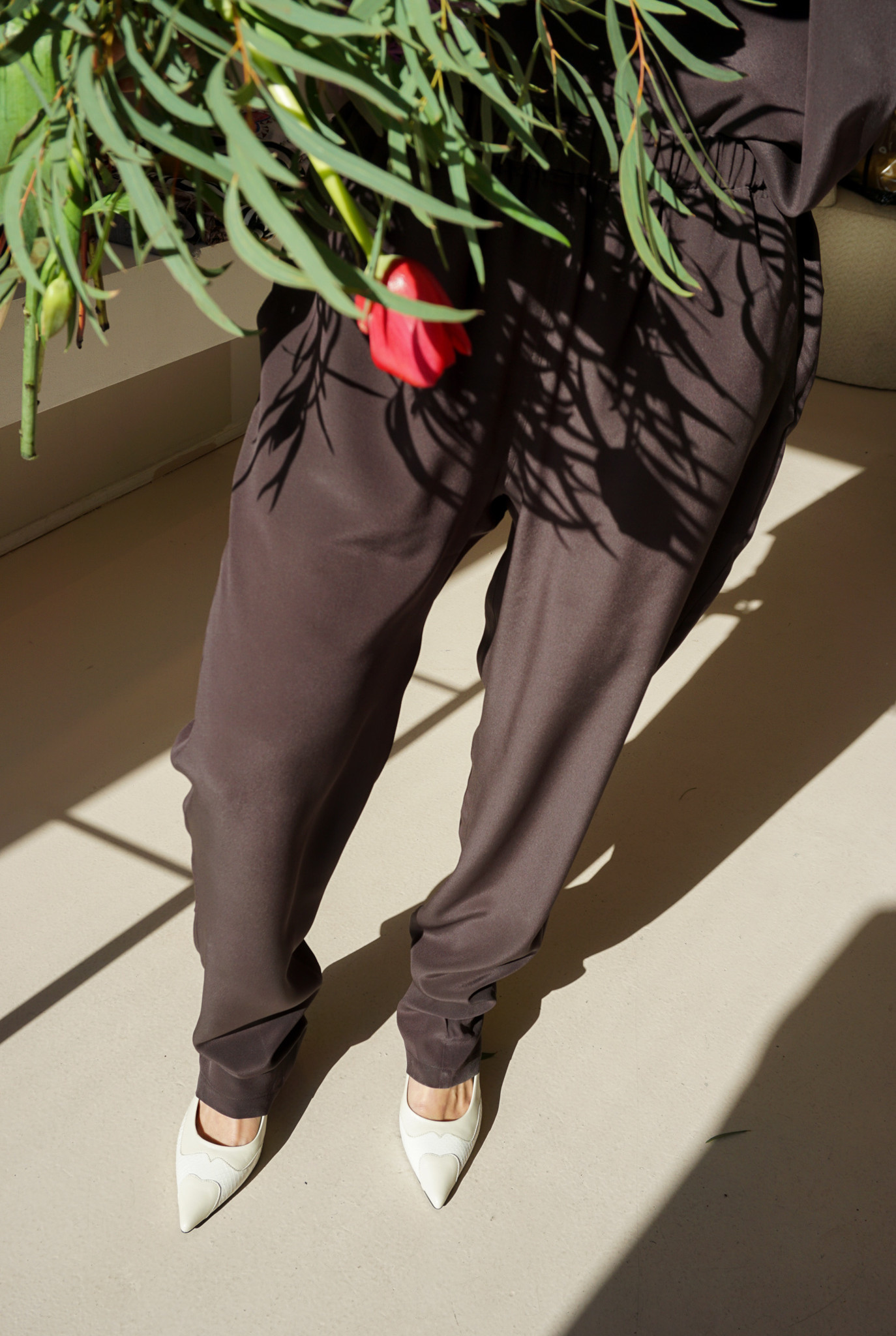 PJ trouser Chocolate silk