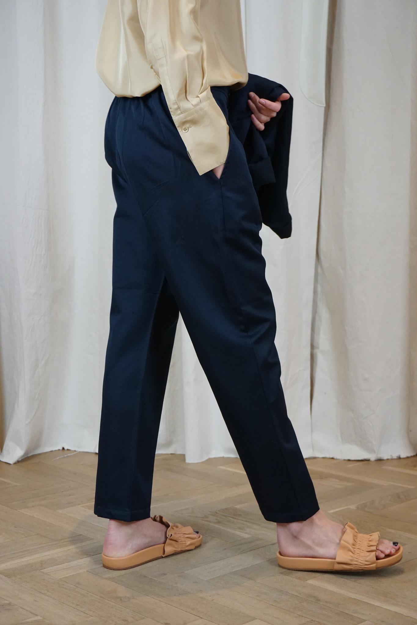 PJ Worker plain Navy cotton linen