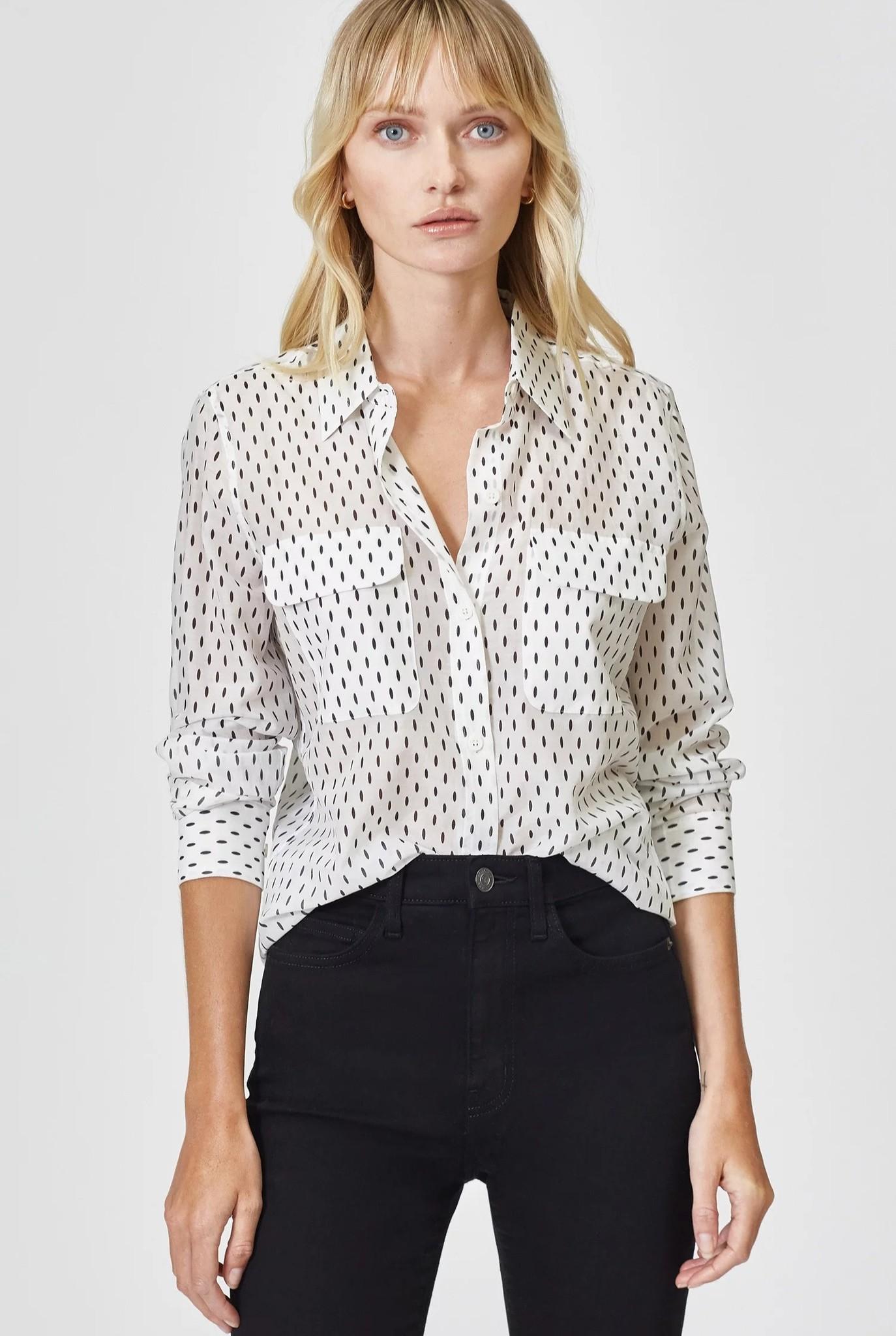 Slim signature White shirt Black drops