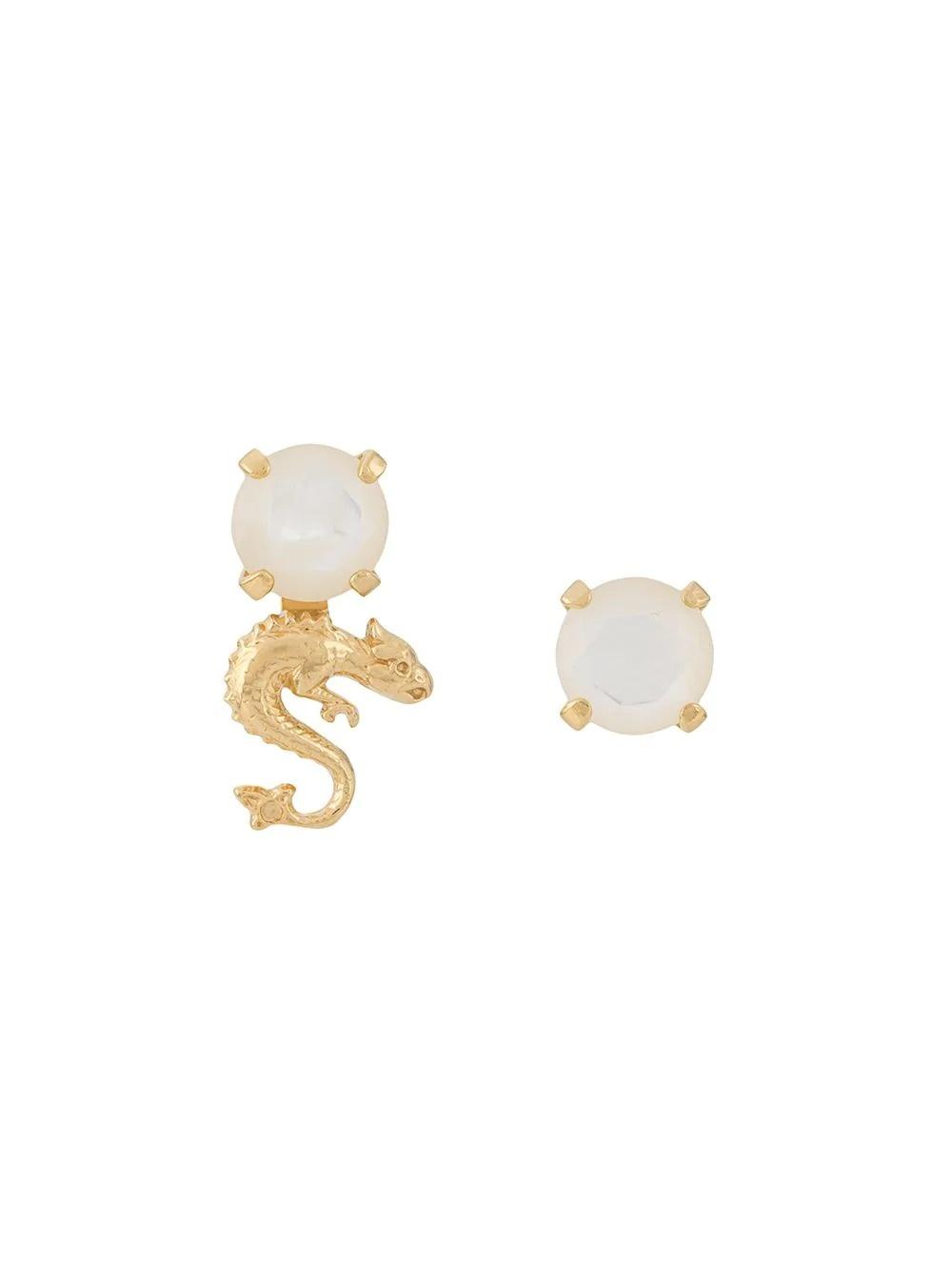 Gold dragon m.o.p. stone earrings
