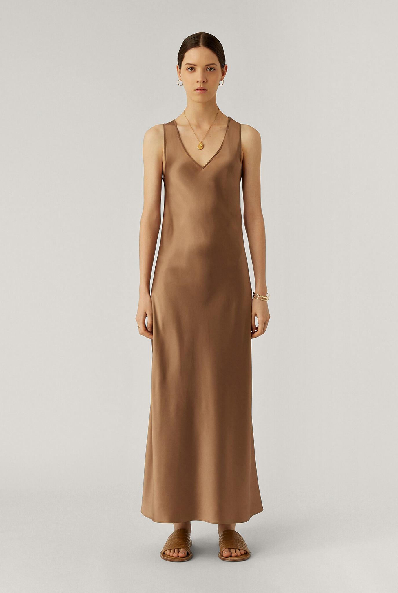 Daris Silk Satin dress Taupe