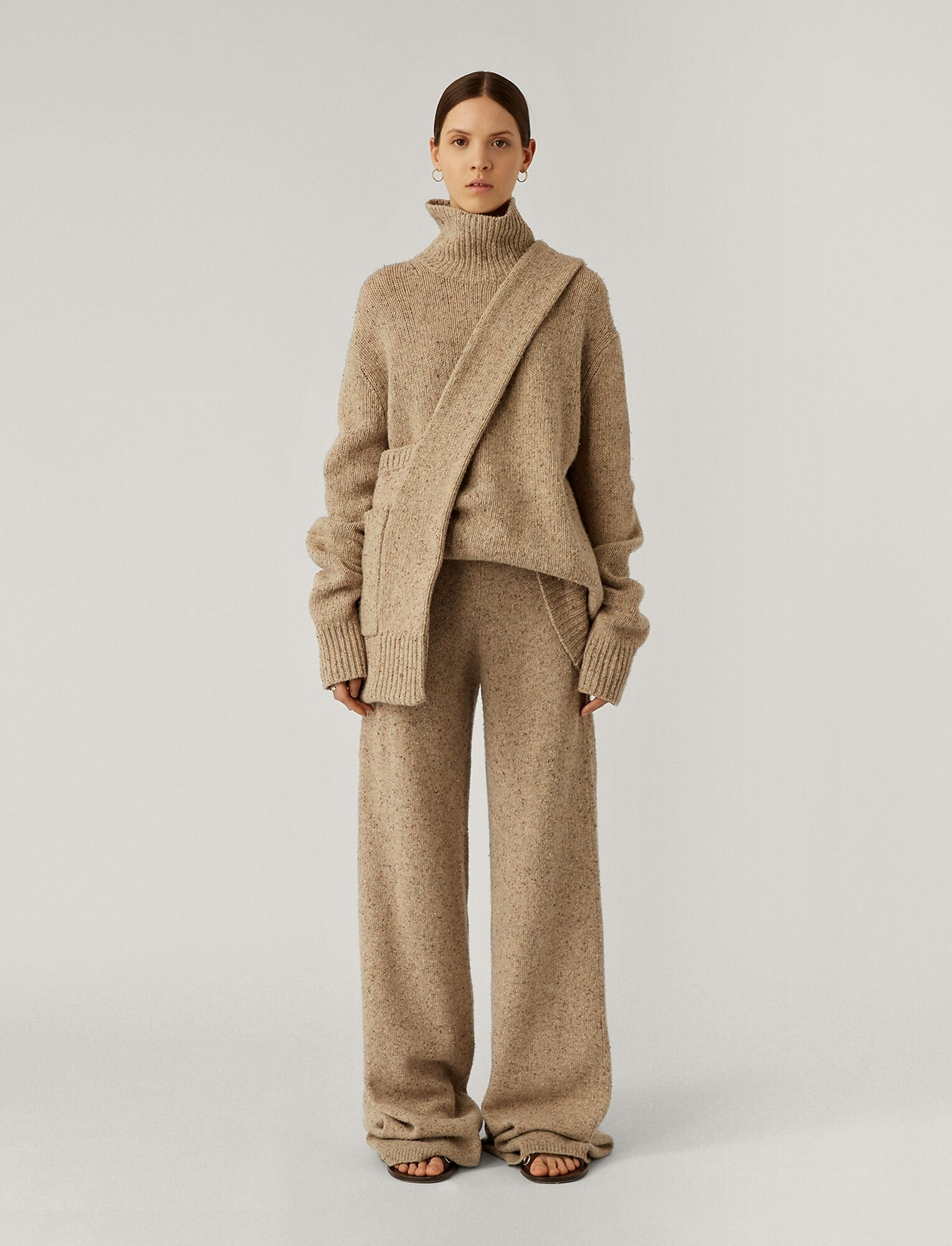 High Nk LS-Tweed Knit Blush
