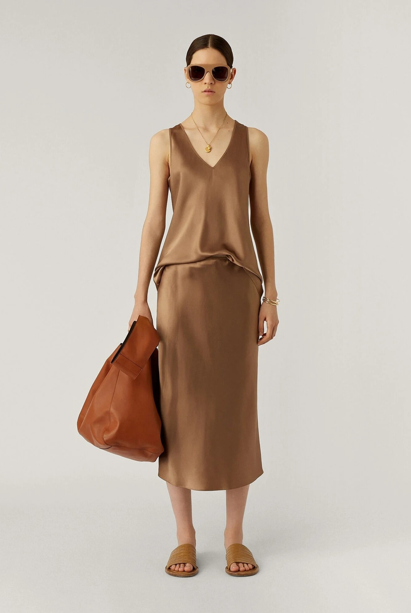 Isaak Silk Satin Skirt Taupe