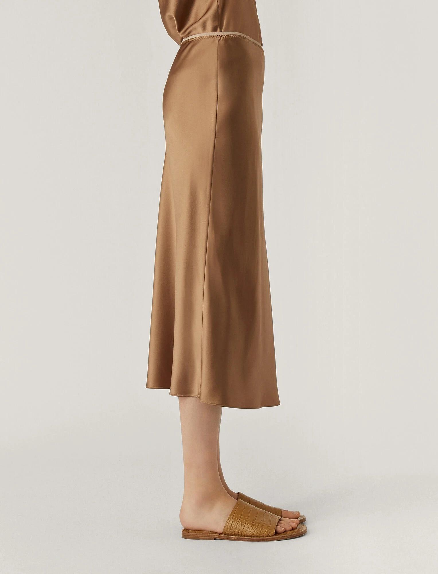 Isaak Silk Satin Skirt Taupe