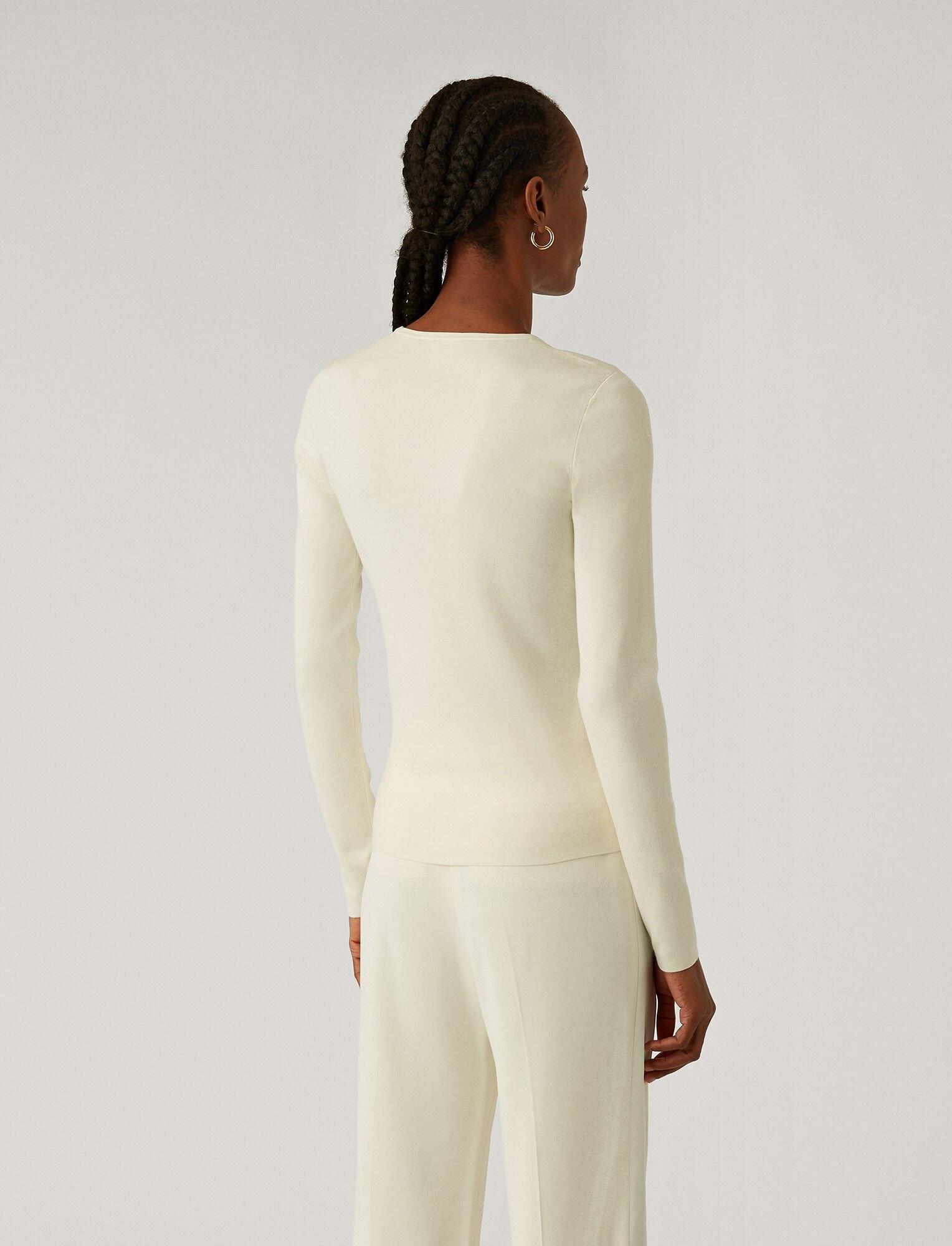 Rd Nk Ls Silk Stretch Top Ivory