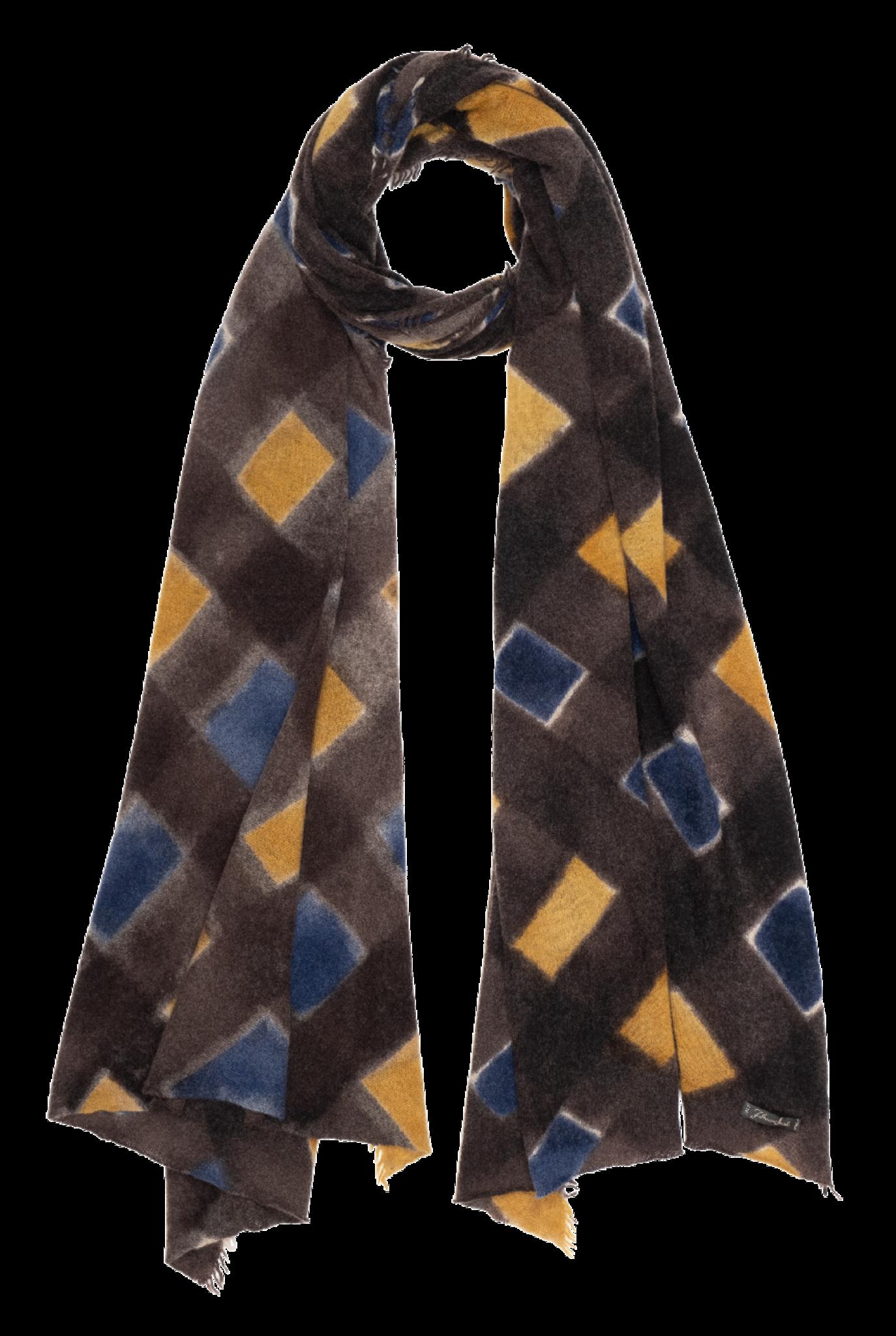 Tamara scarf Brown Blue Yellow sqaure
