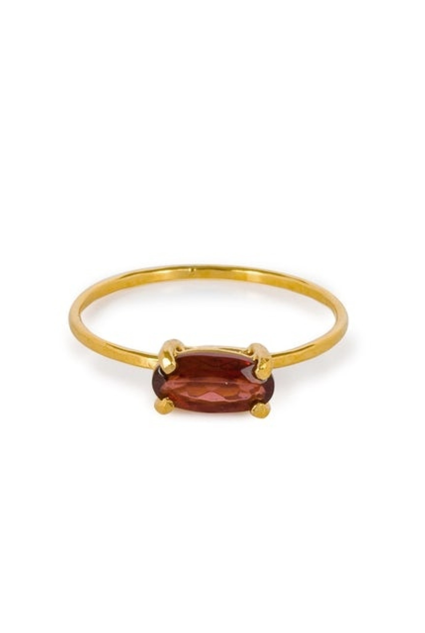 Single garnet ring gold plated