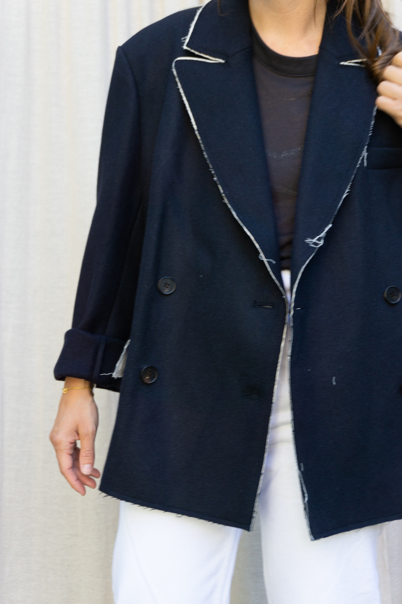 Jacket White Seams Navy