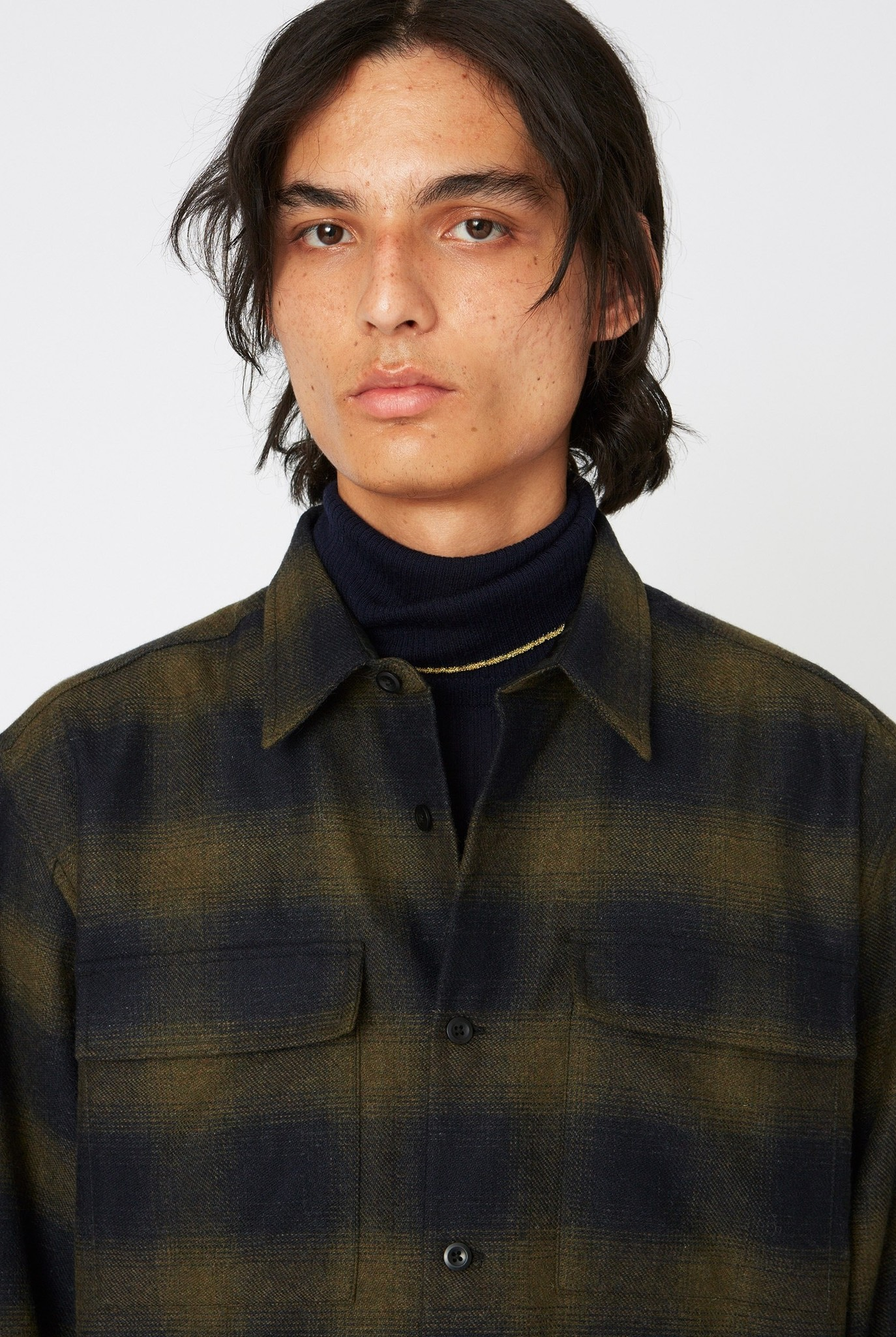 Base Over Shirt Khaki Green Check