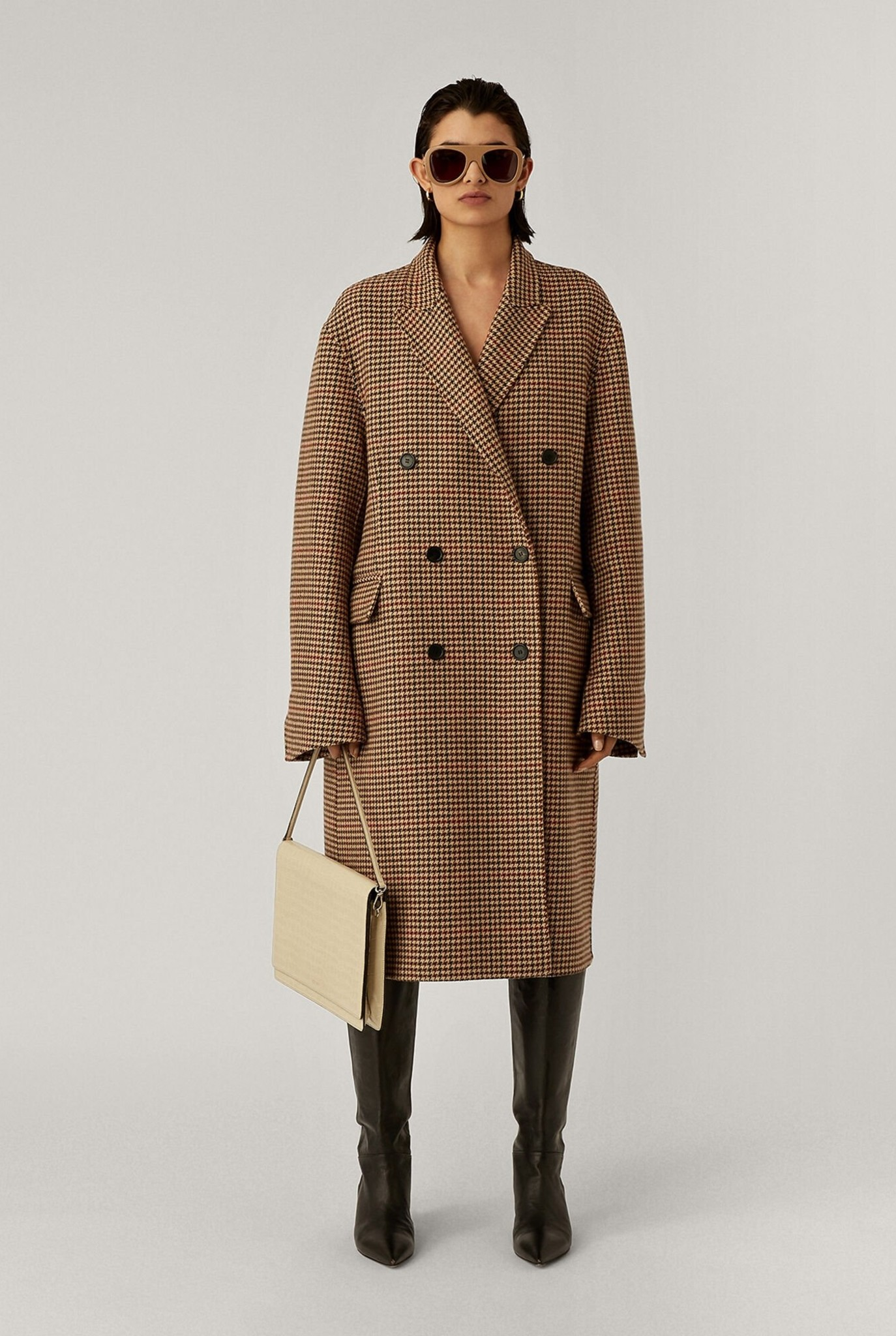 Carles Coat Chocolate Check