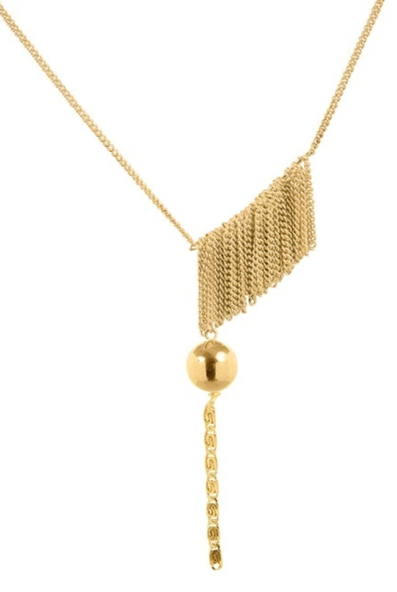 Chains curtain and ball necklace gold plated