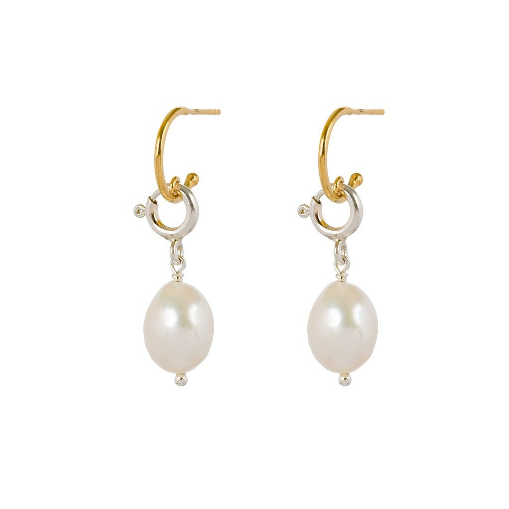 Pearl and chain closure earrings mix