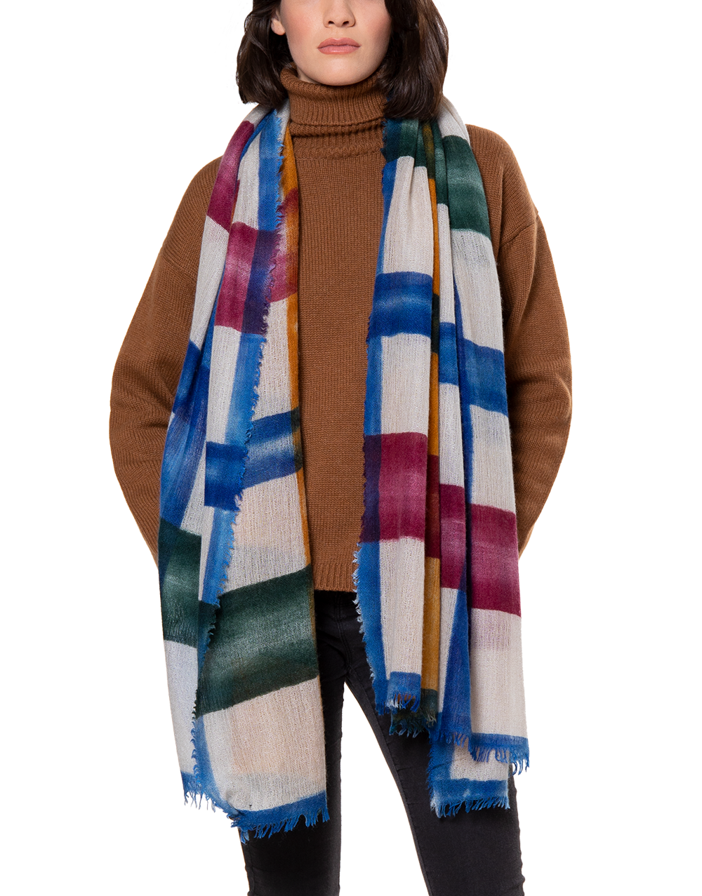 Freddie scarf blue ocre green beige square