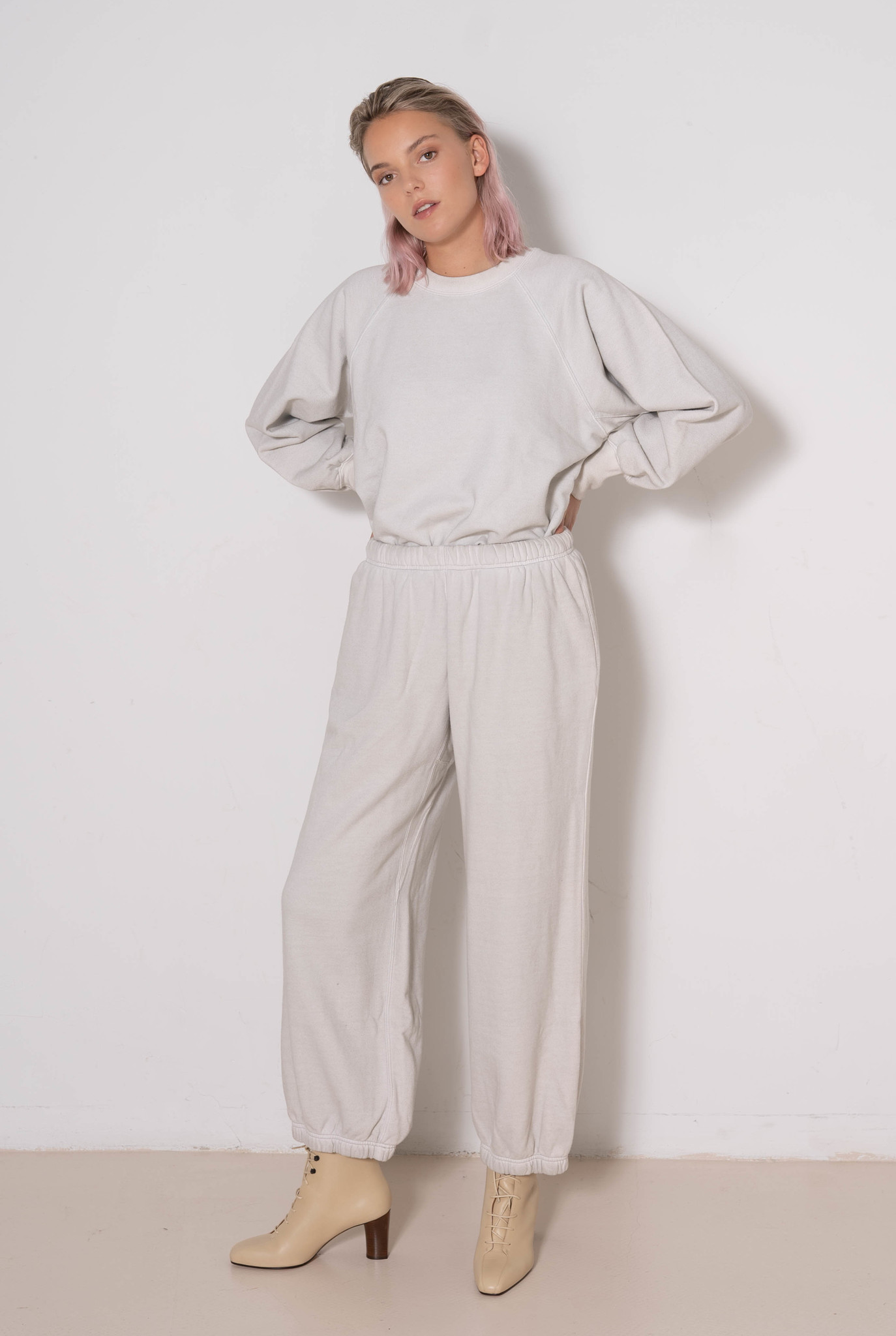 Wide Leg Sweatpants Grey Wash