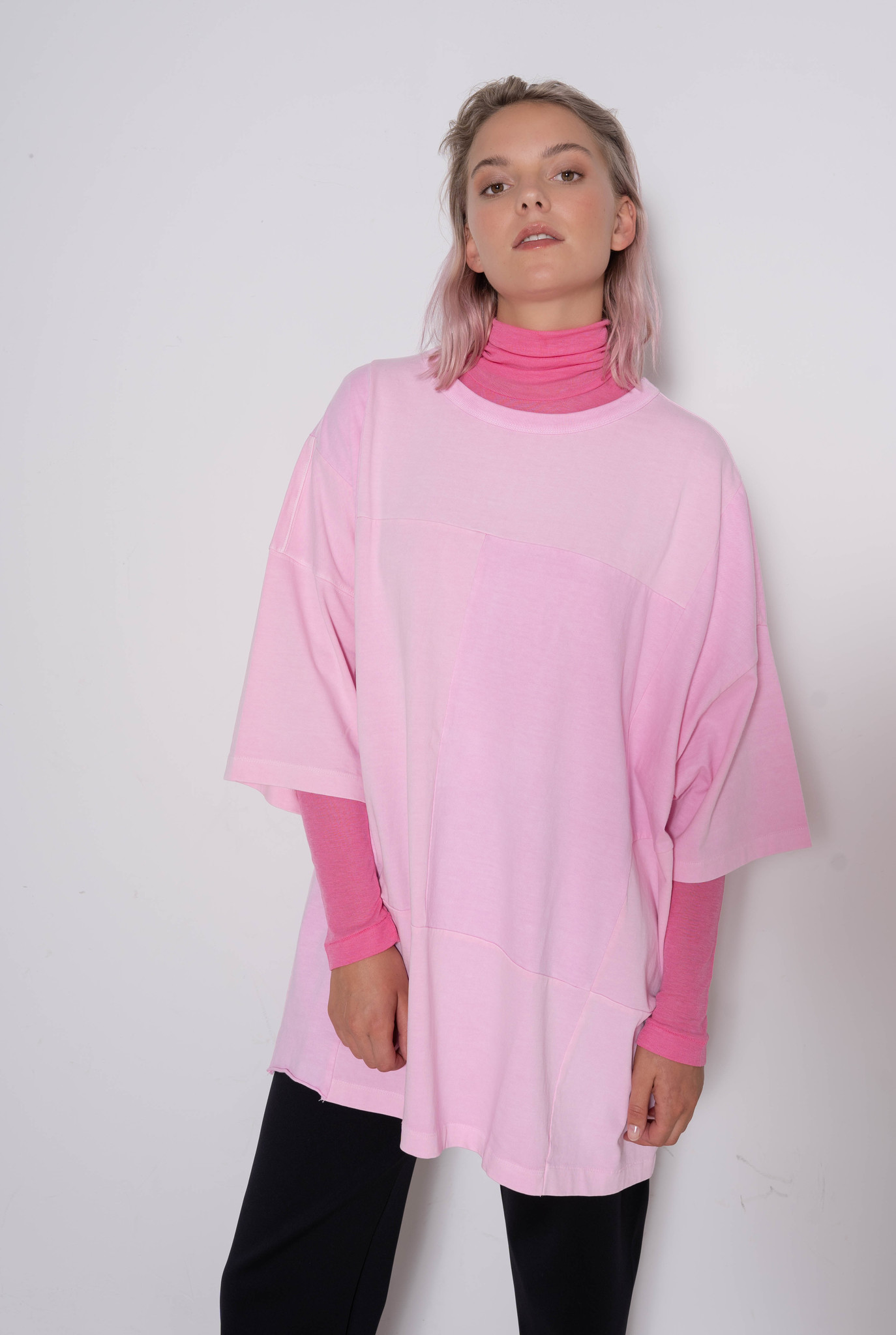 Oversized Patchwork T-shirt Light Pink