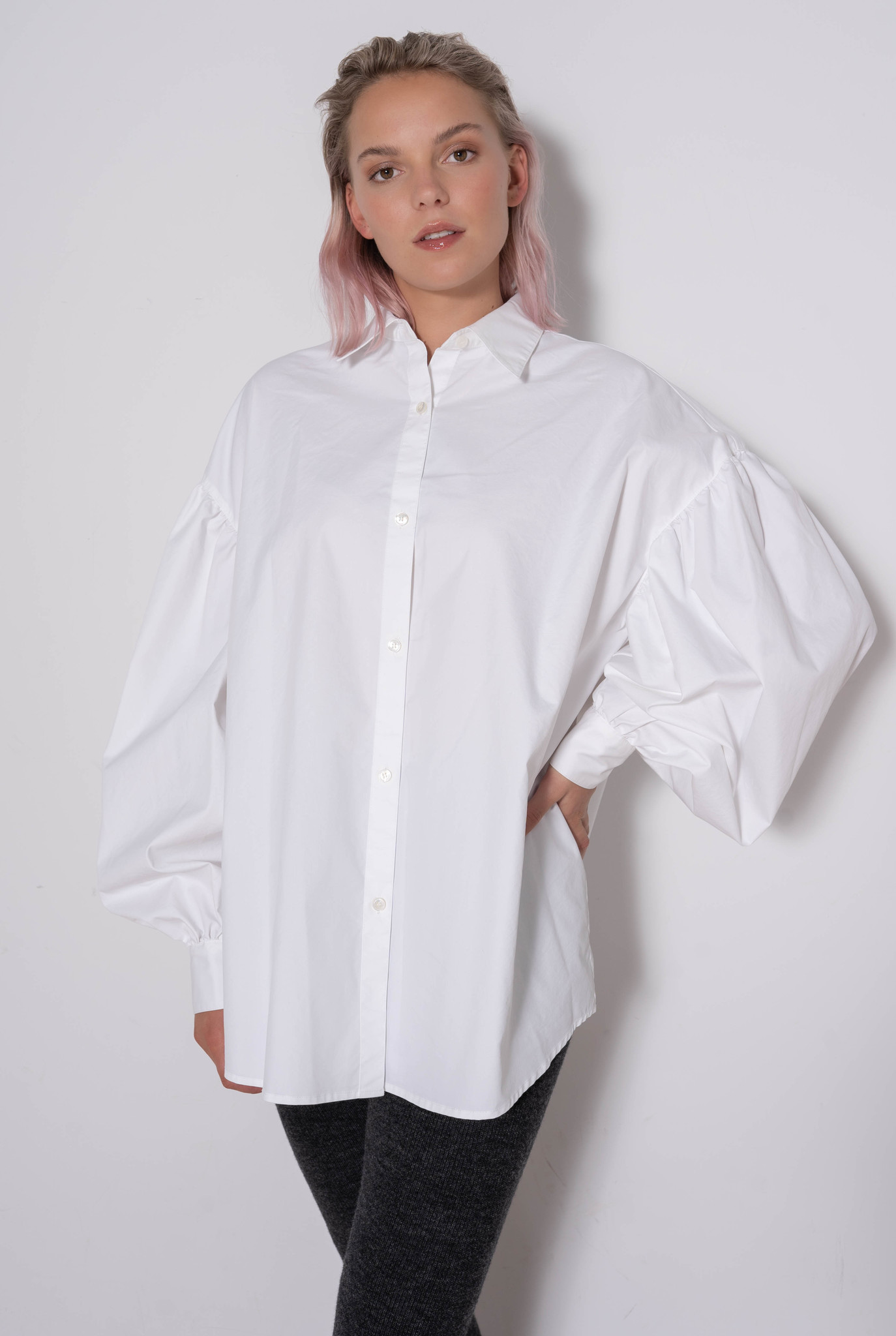 Pleated Oversized Shirt Hard White
