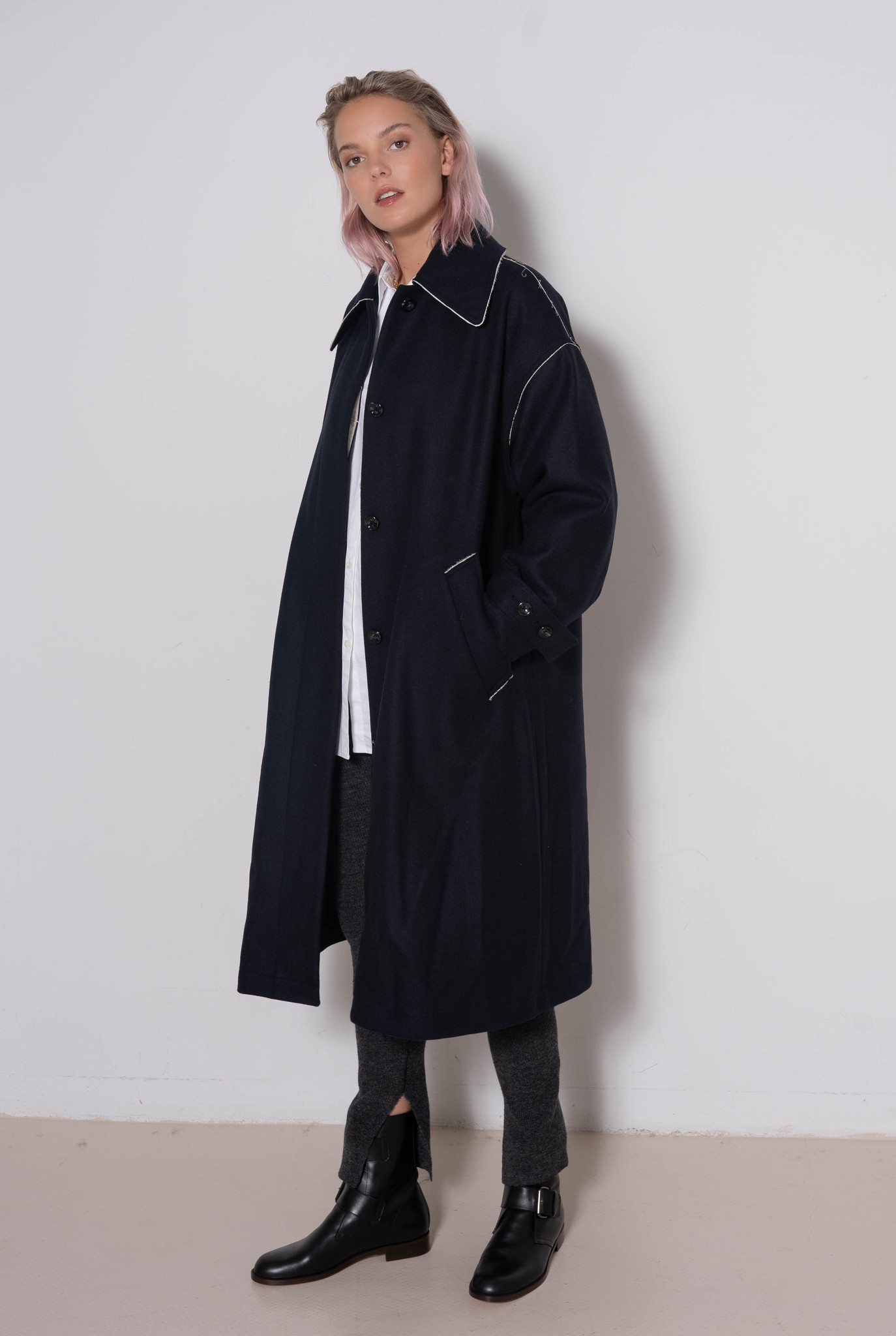 Long Coat White Seam Navy