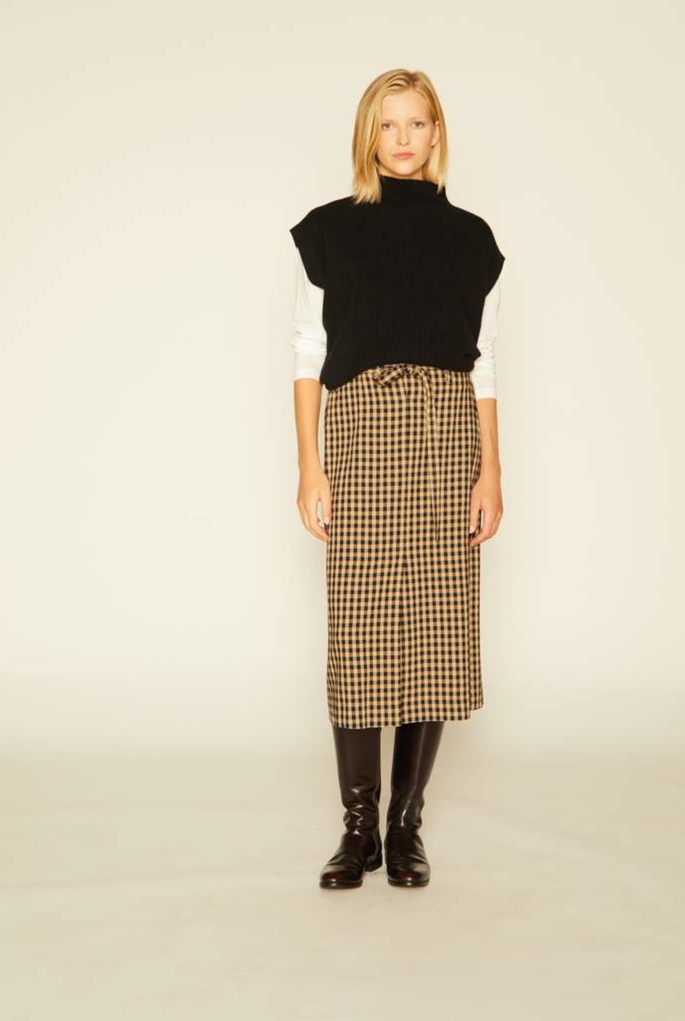 Tilt Skirt Blue Beige Check