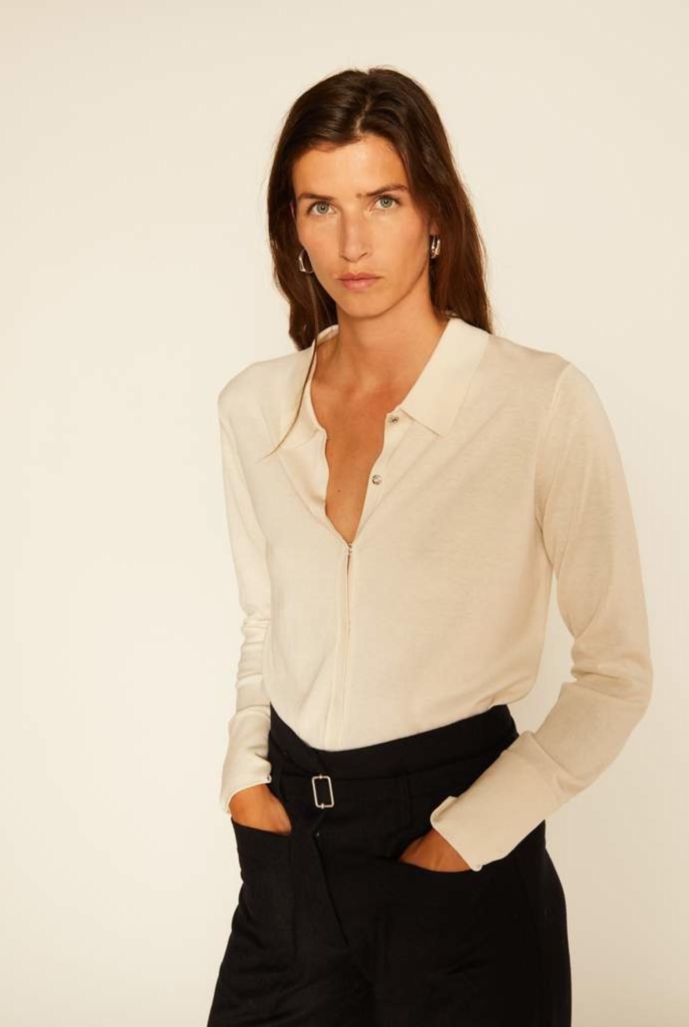 Silk shirt cardigan ecru