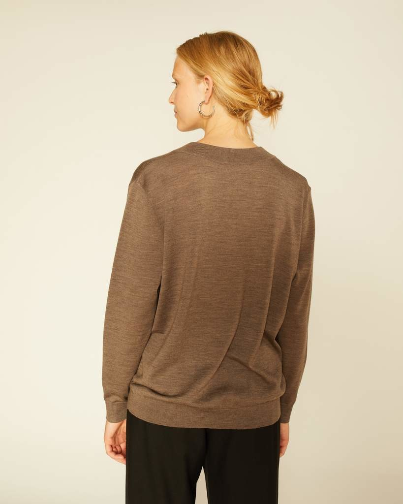 Meri Maxi V-neck sweater taupe