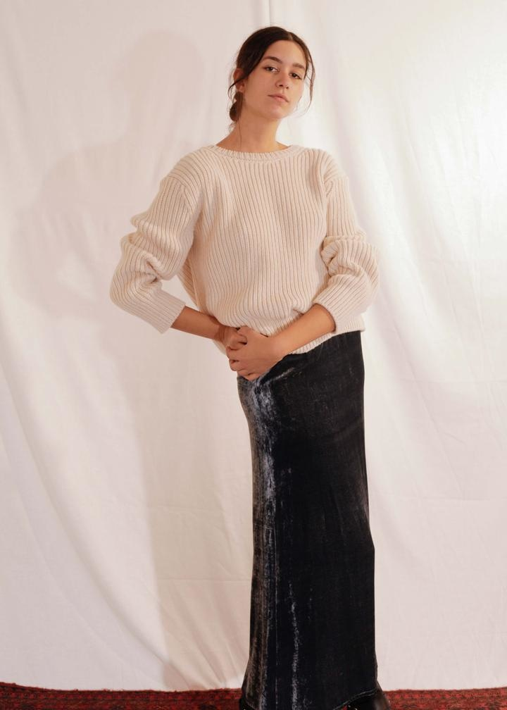 Chunky Knit Slim Pullover Grace Off White