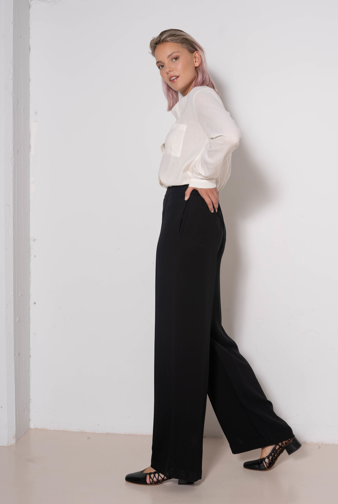 Tawn Trouser Black Georgette