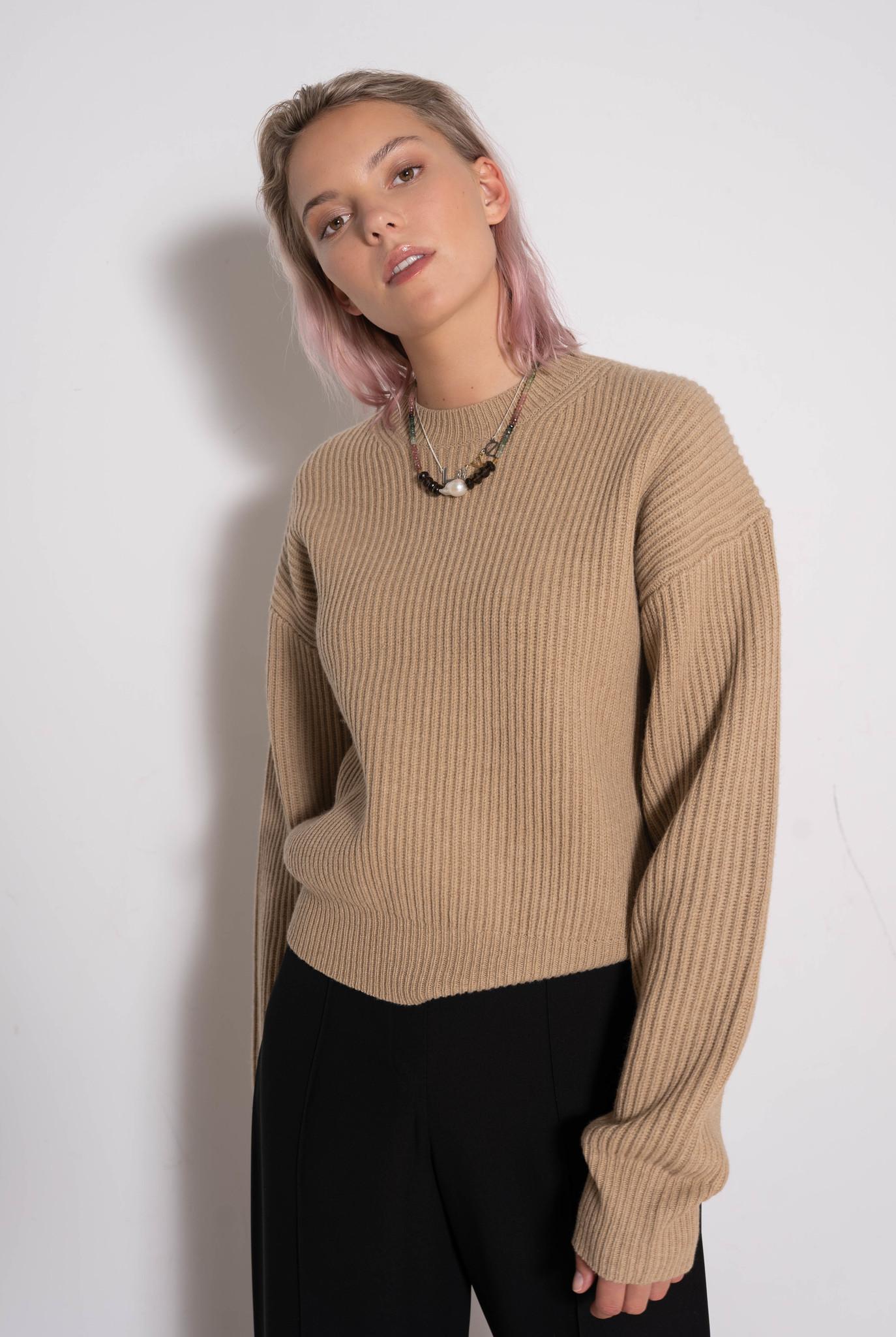 Rd Nk Ls Sweater Cardigan Stitch Light Cognac