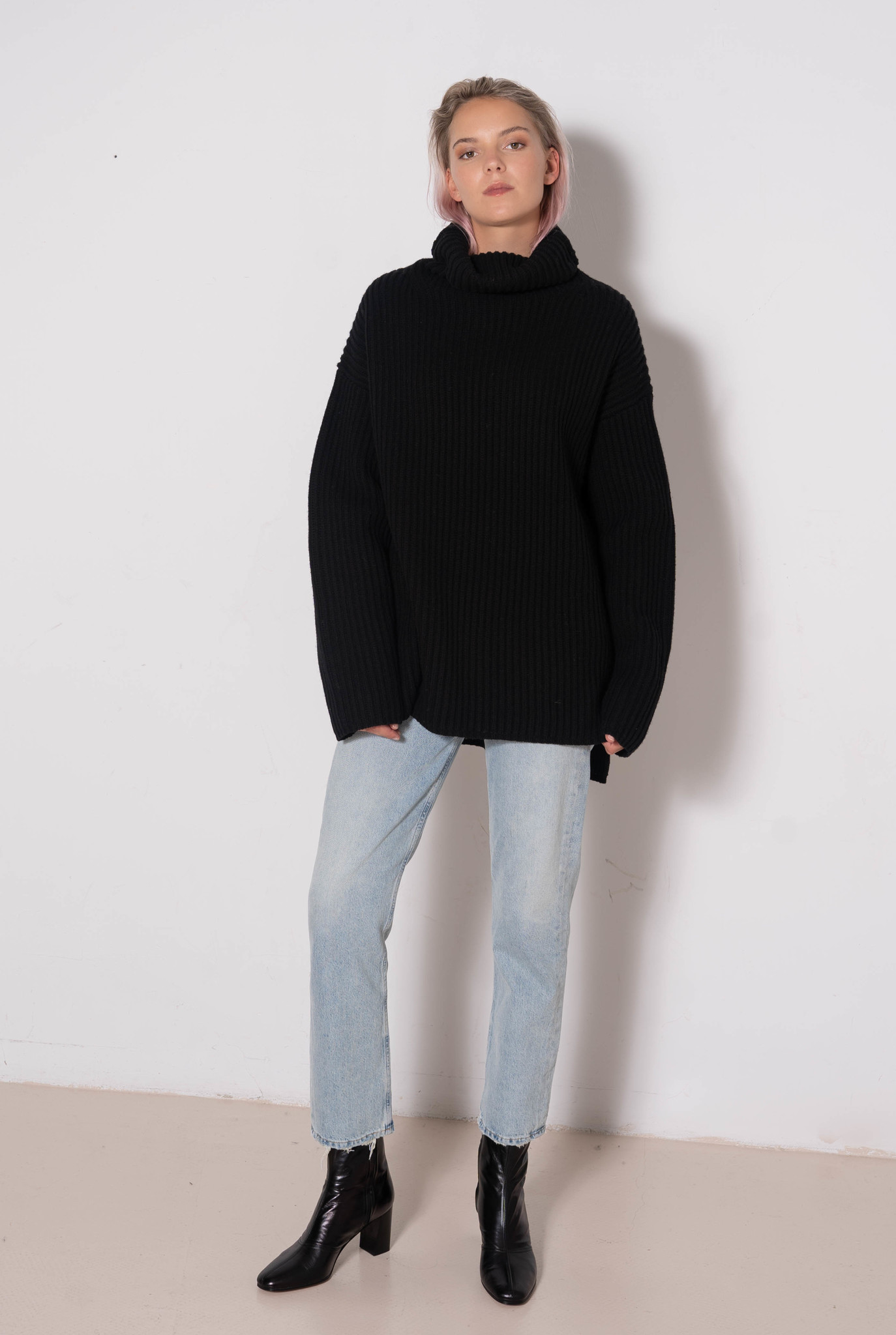 High Nk sweater Cardigan Stitch Black