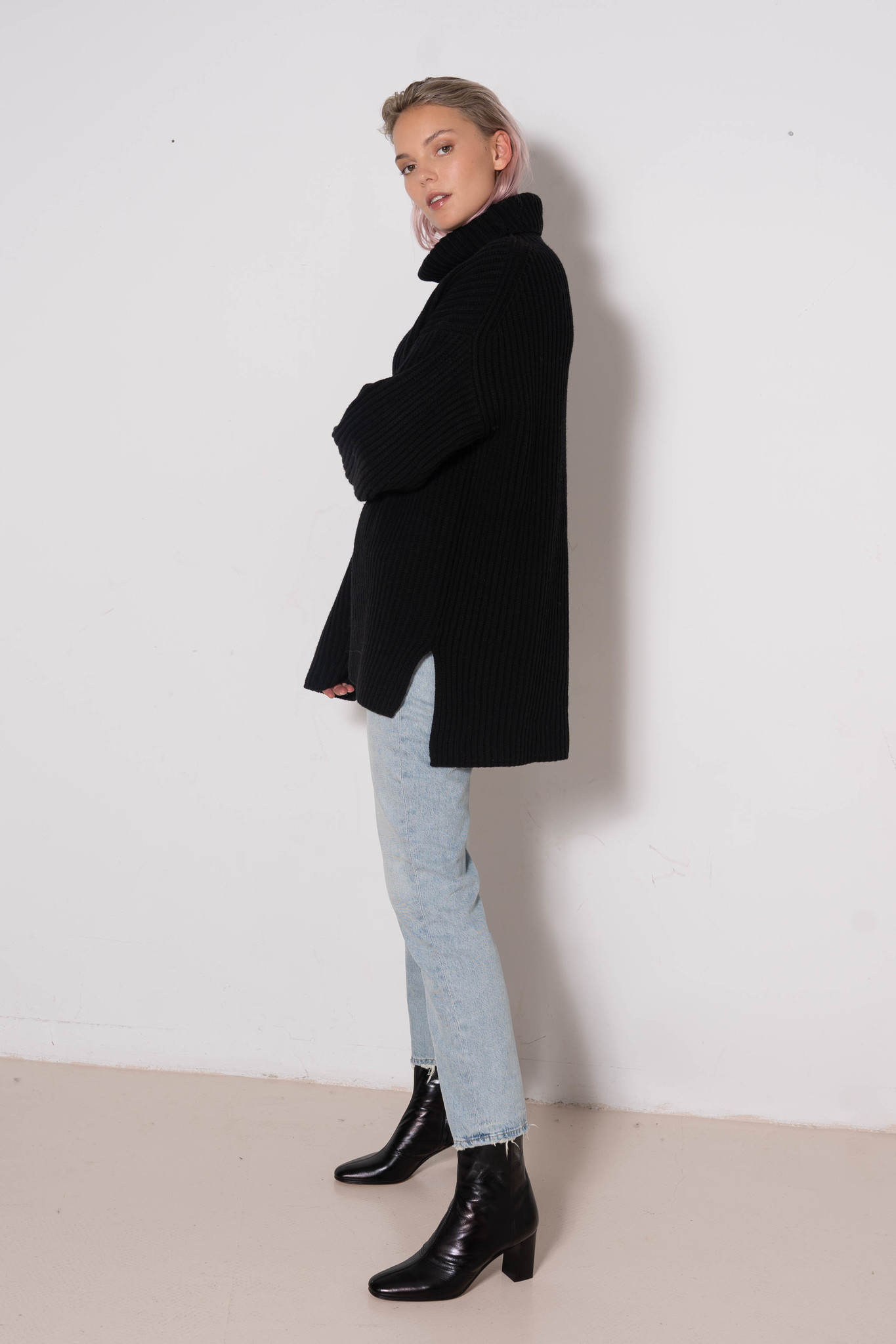 High Nk sweater Cardigan Stitch Black