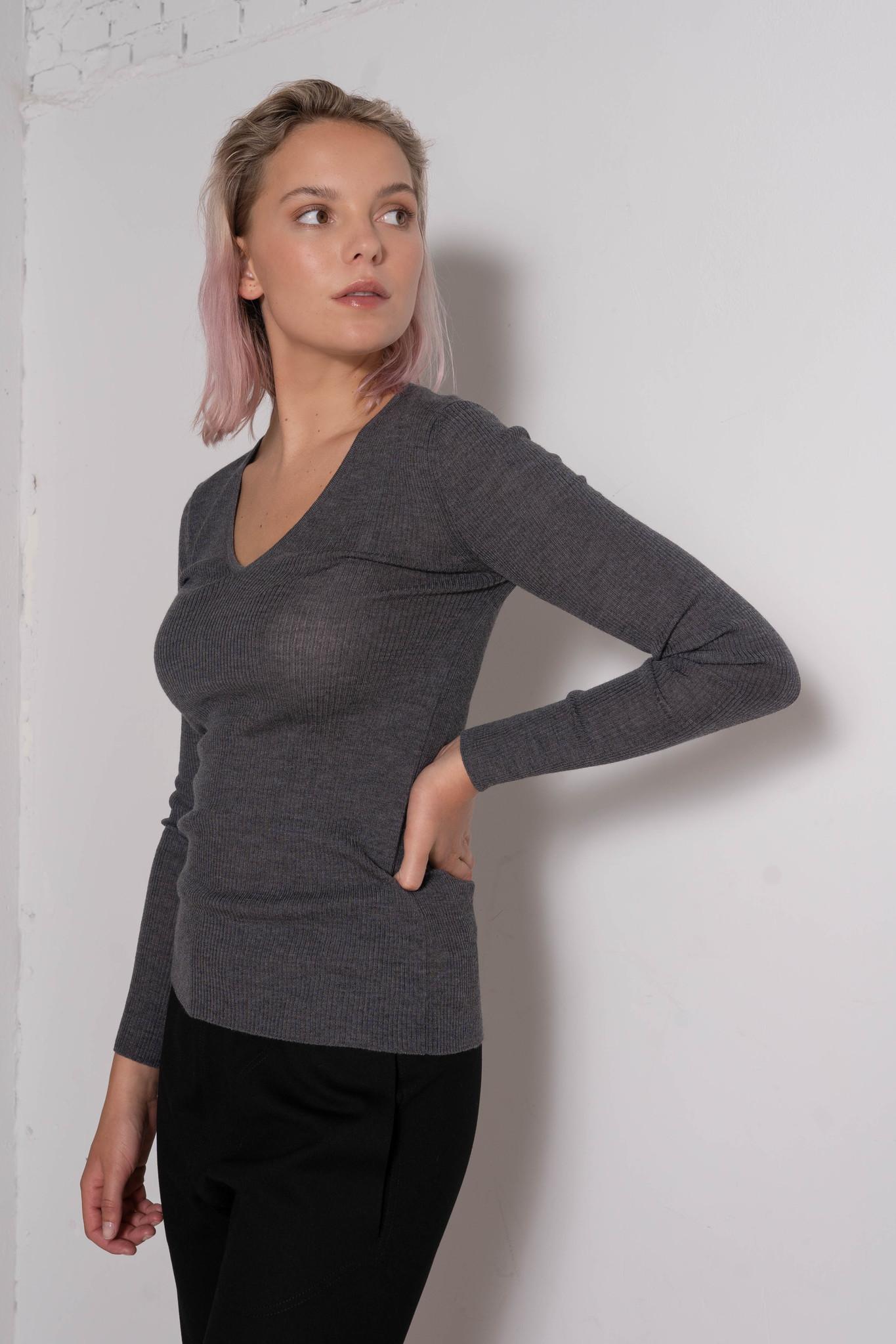 V-Neck Knit Top Dk Grey