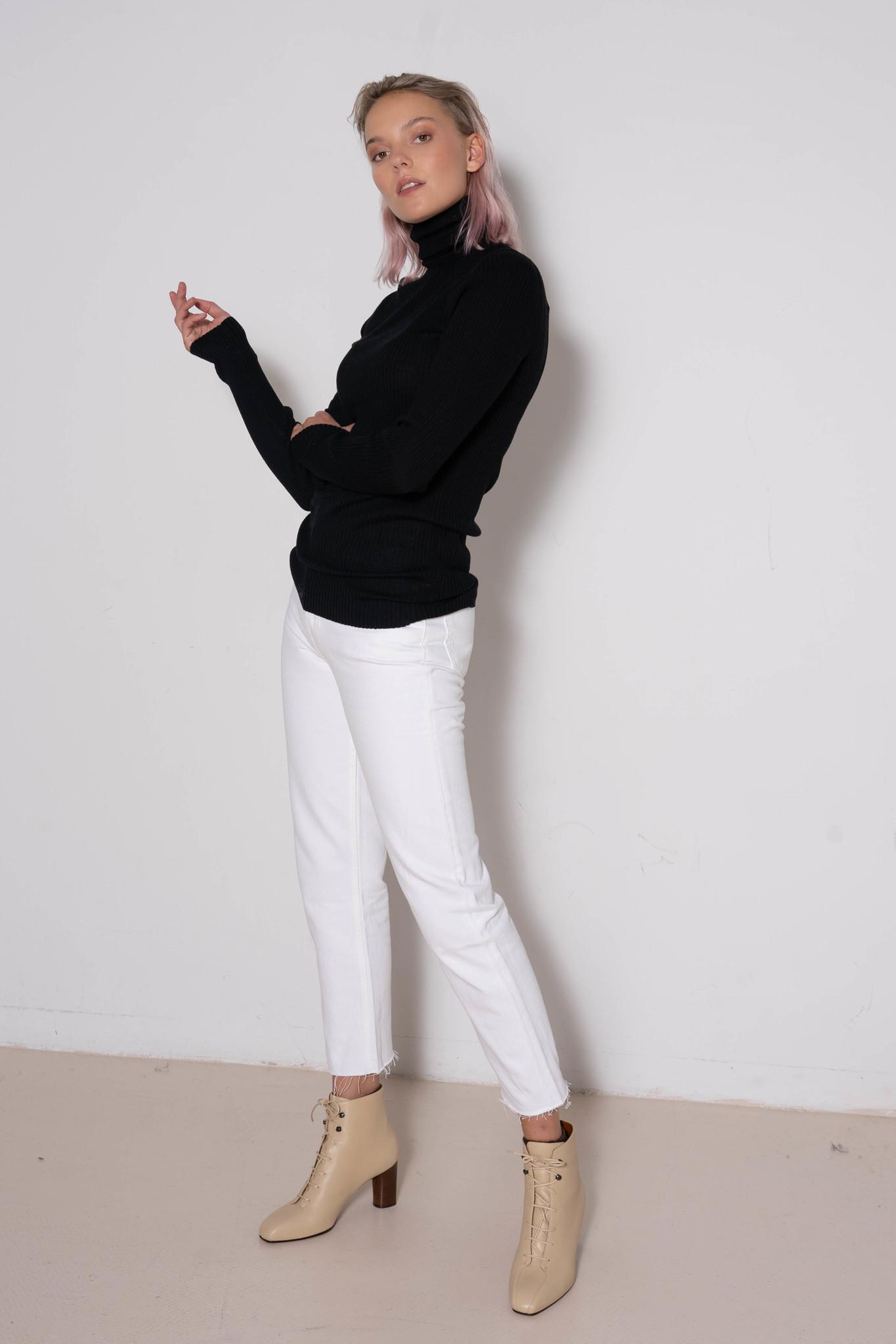 High Nk Ls Sweater Merinos Rib Black