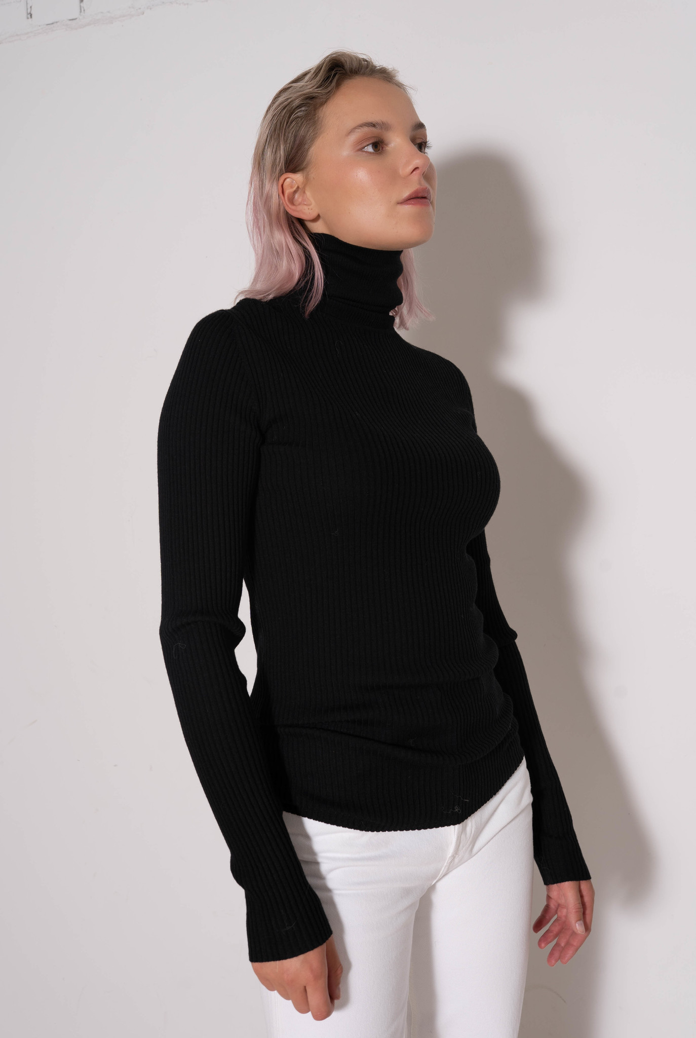 High Nk Ls Sweater Merinos Rib Black