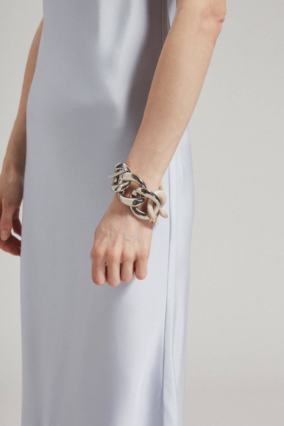 Pezzo Bracelet Shiny Silver Oatmeal