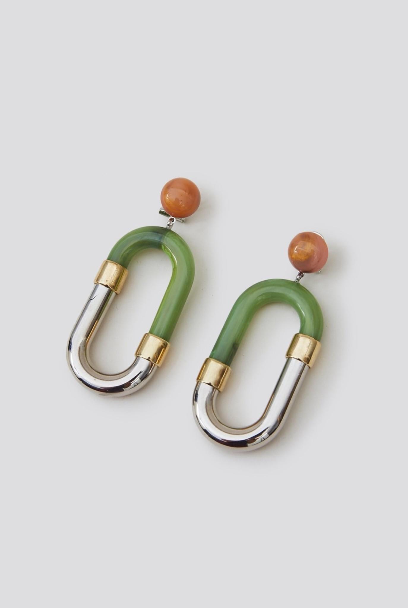 Dial Earring Mint Silver