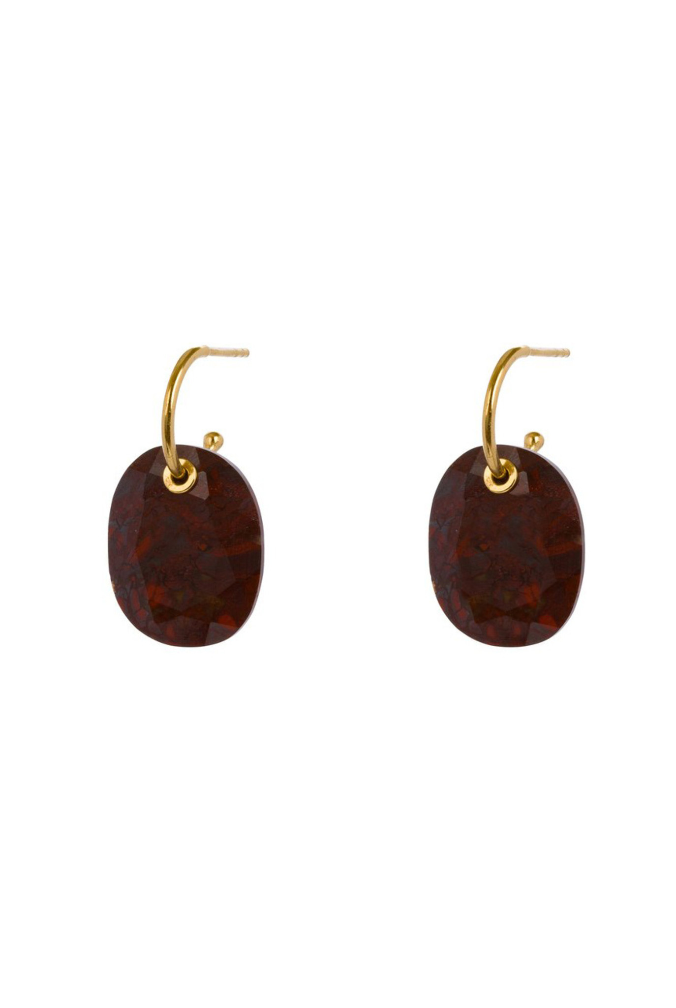 Red moss agate earrings gold plated
