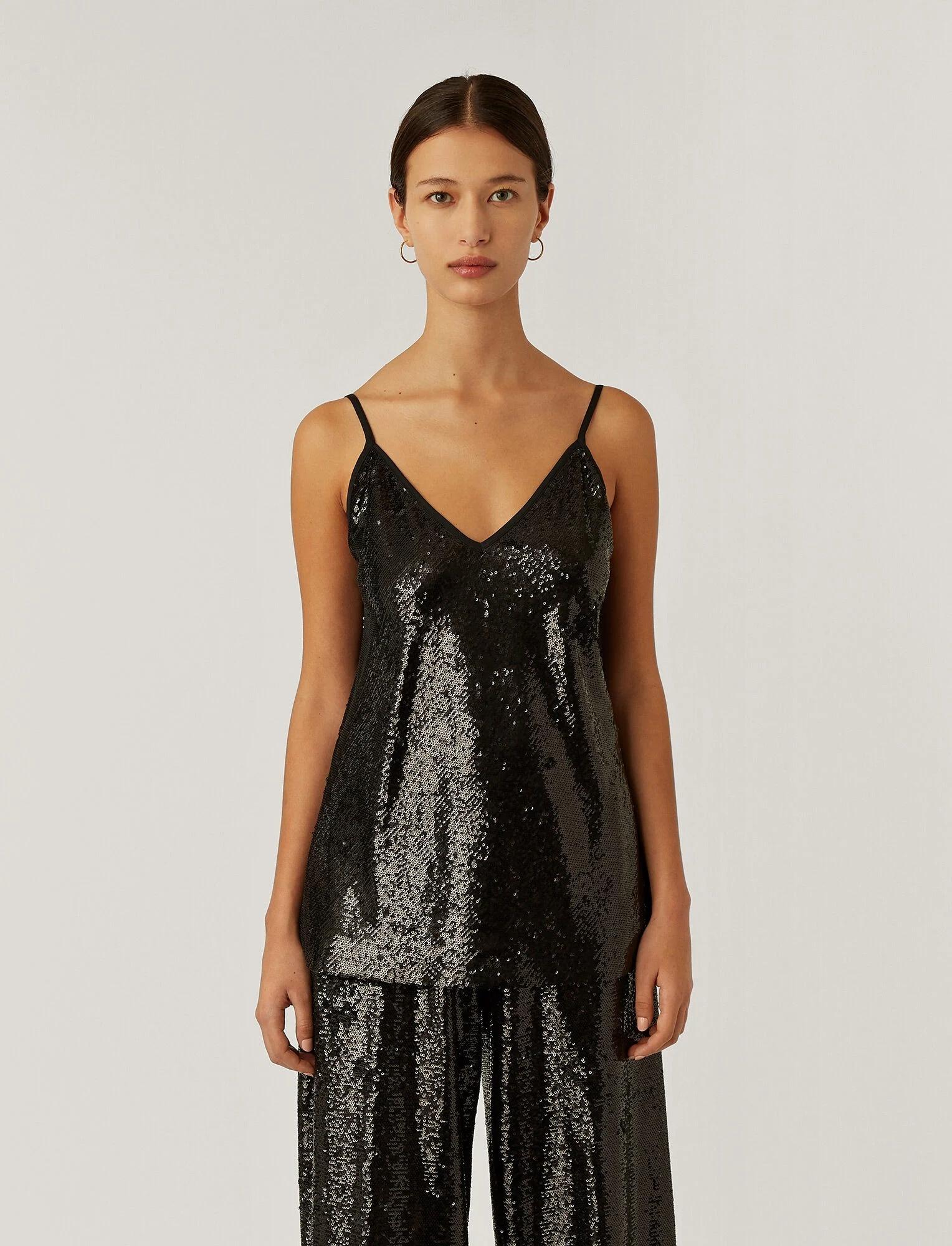 Clea Top Sequins Black