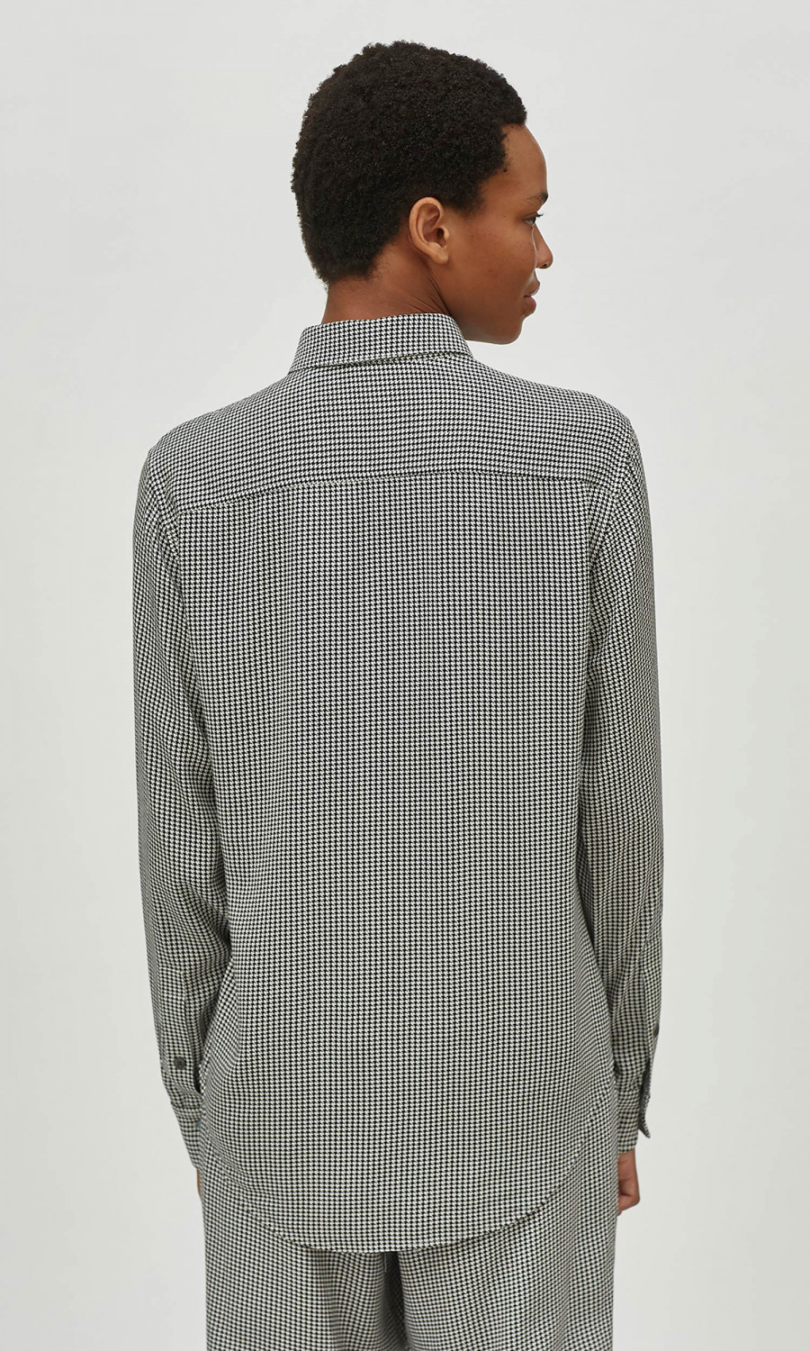 Slim Fit Blouse True black Nature White Houndstooth