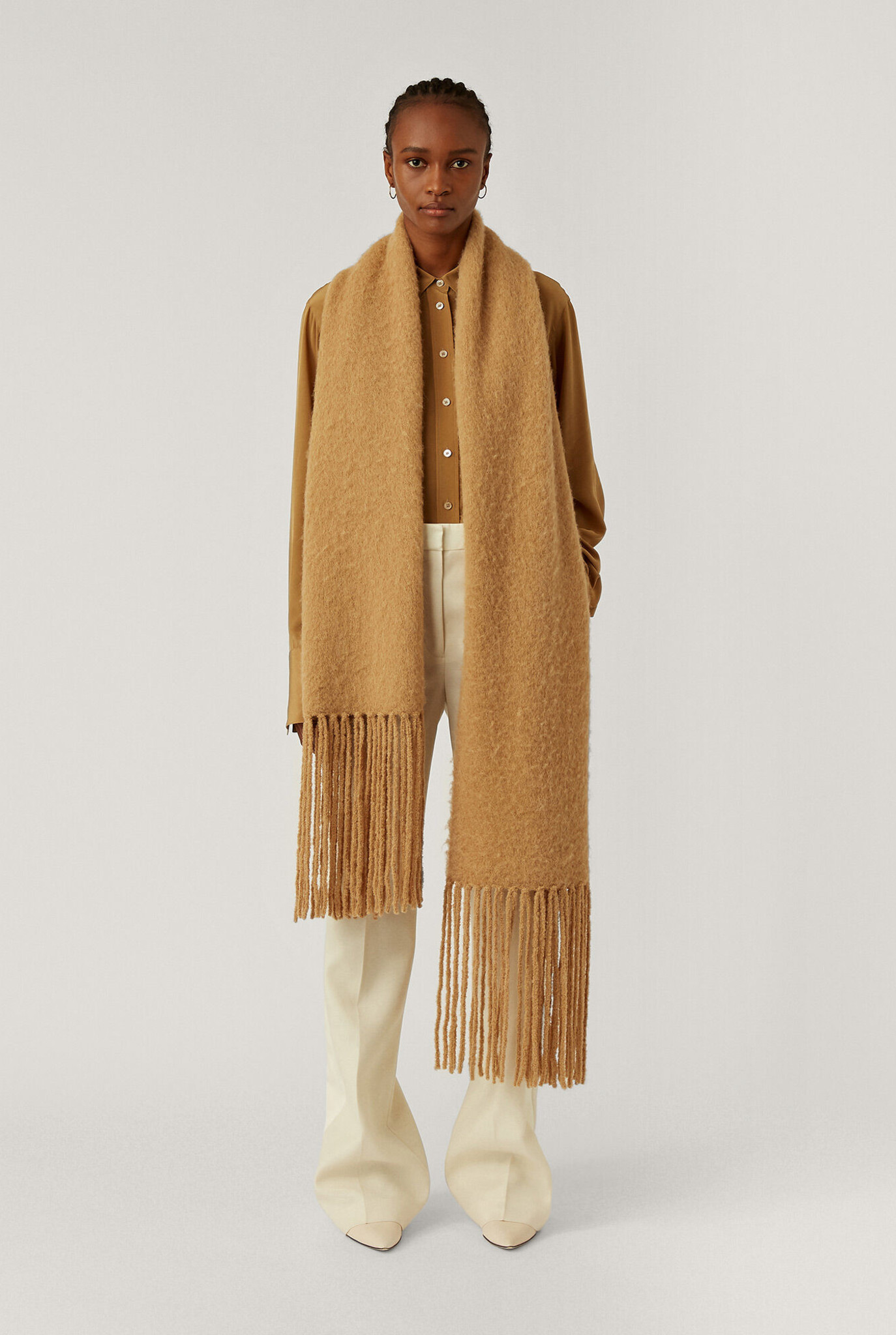Scarf Brushed knit scarf camel