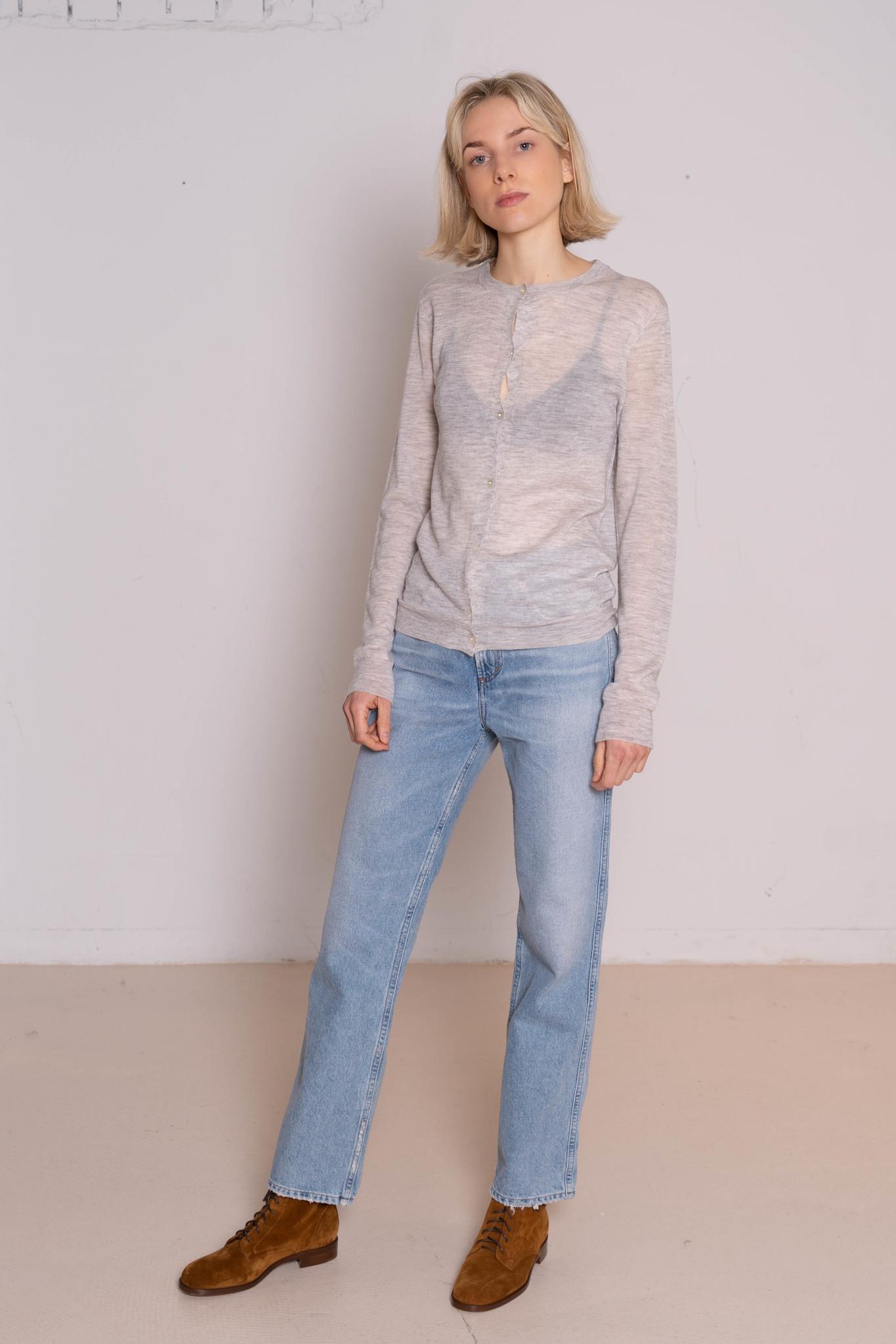 Round neck cardigan cashair grey chine