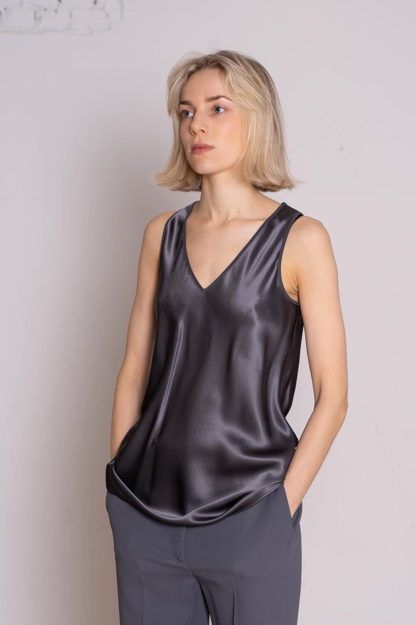 Belva silk satin blouse anthracite