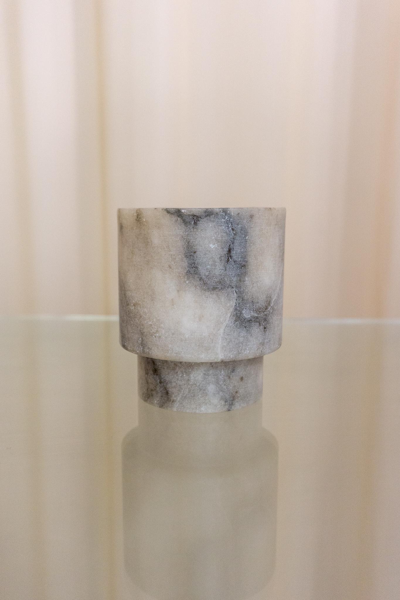 Alabaster t-light holder S grey
