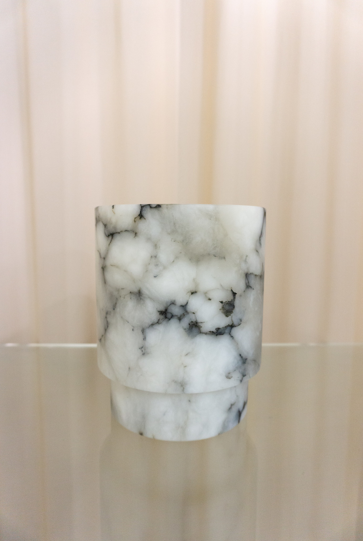 Alabaster T-light holder L grey