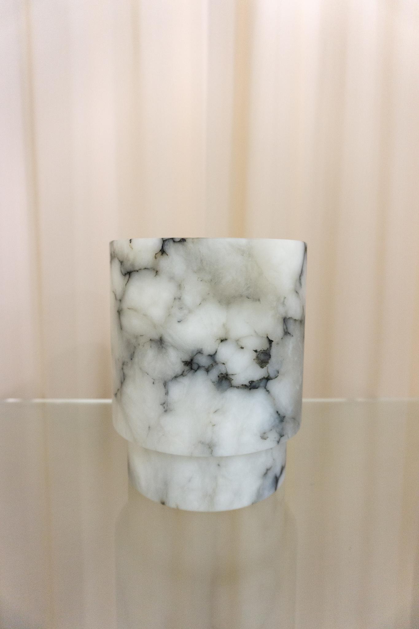 Alabaster T-light holder L grey