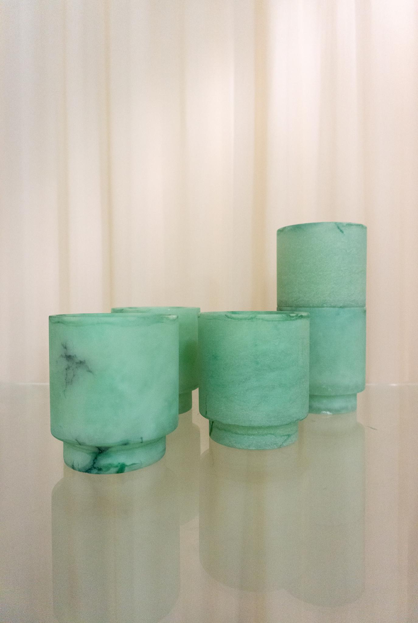 Alabaster t-light holder M green
