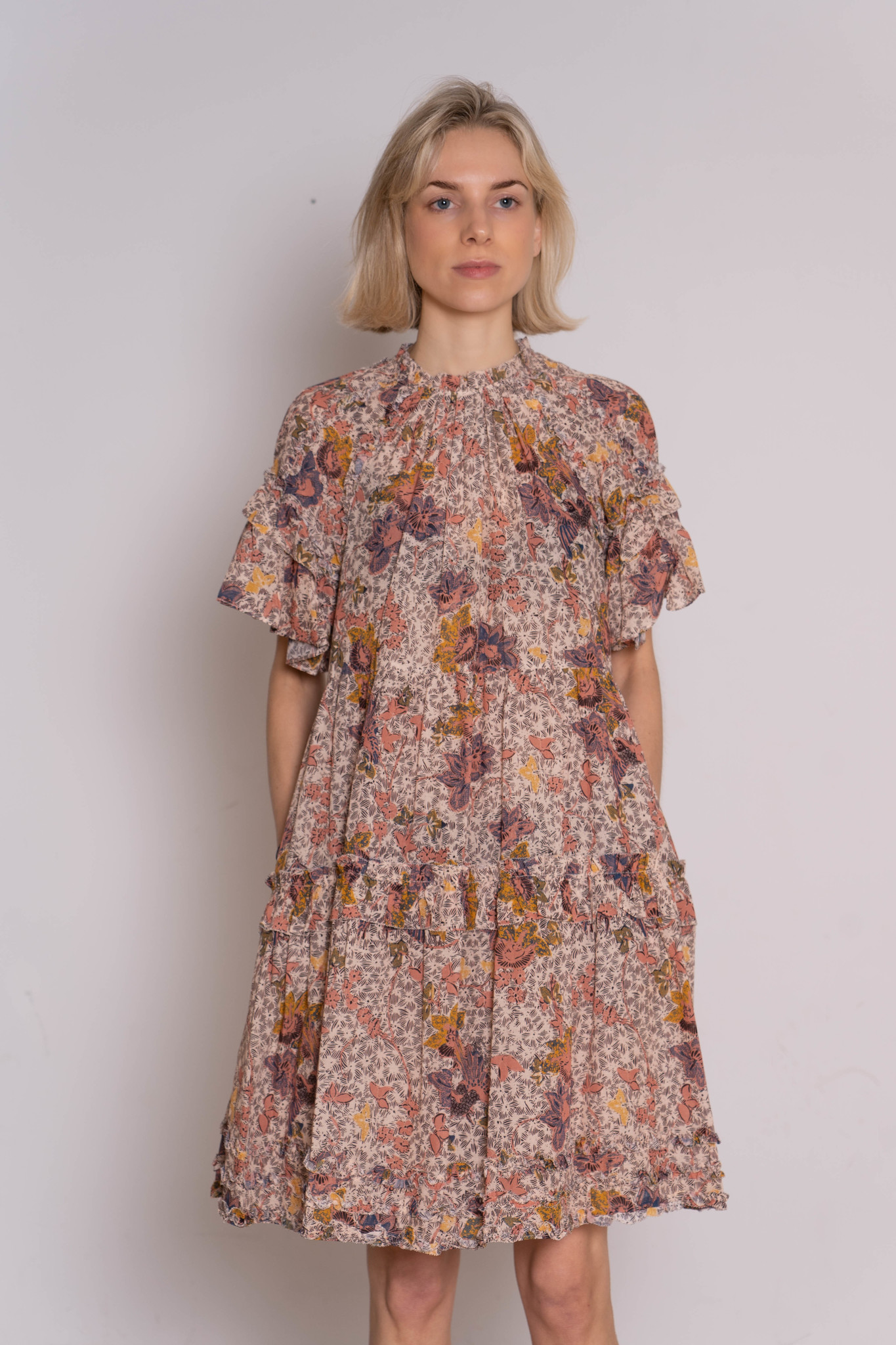 Delia Dress Floral Ivory