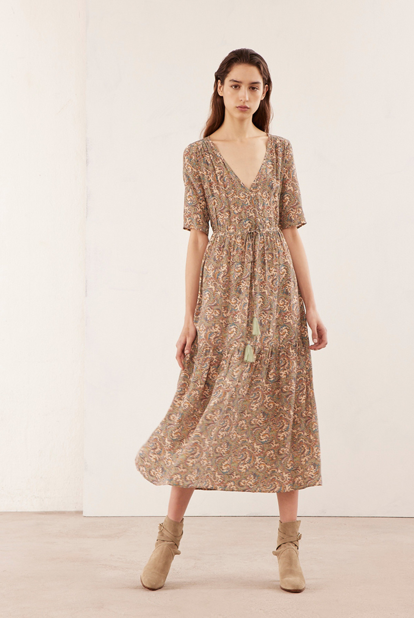 Raphaelle dress beige print