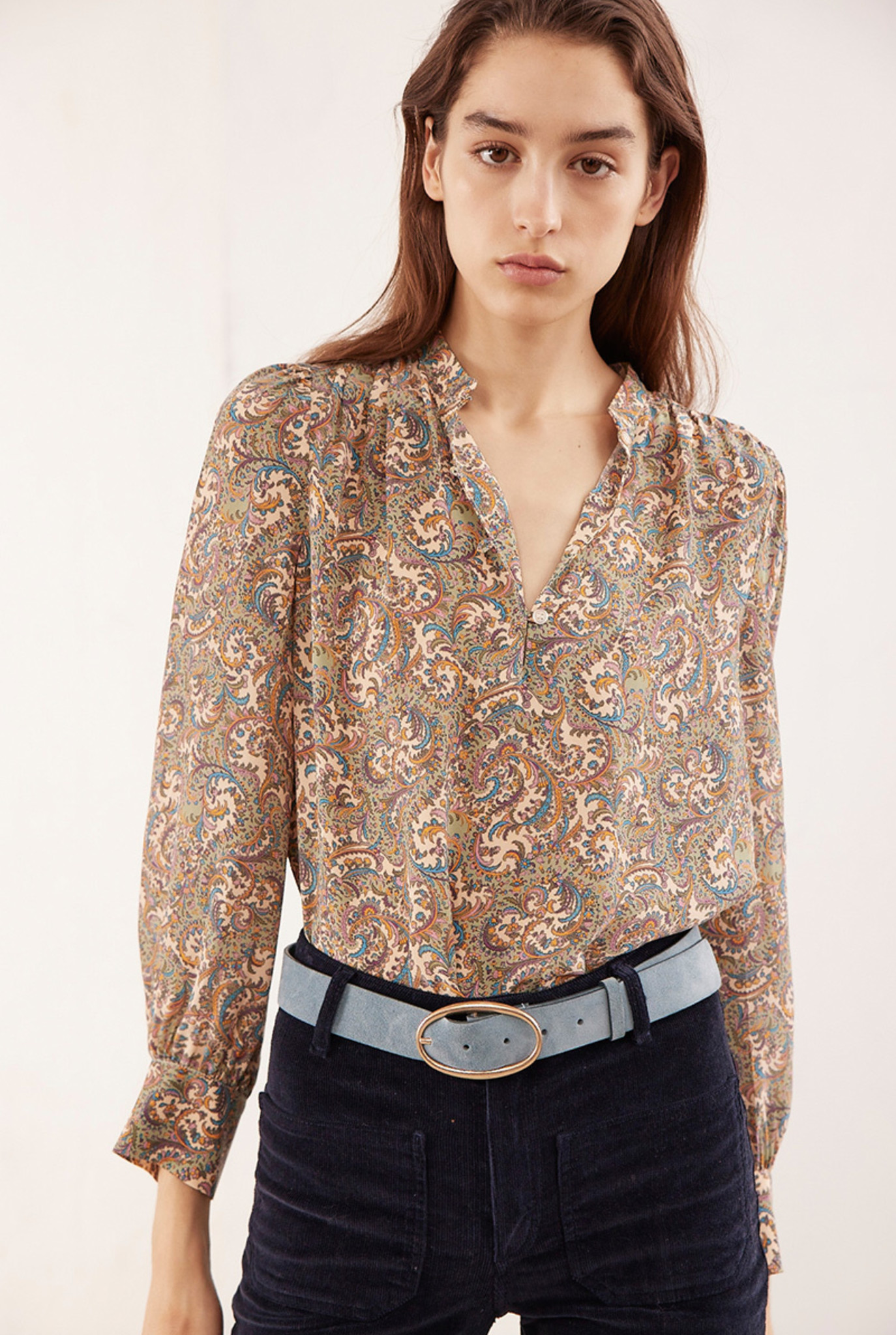 Ned blouse beige print
