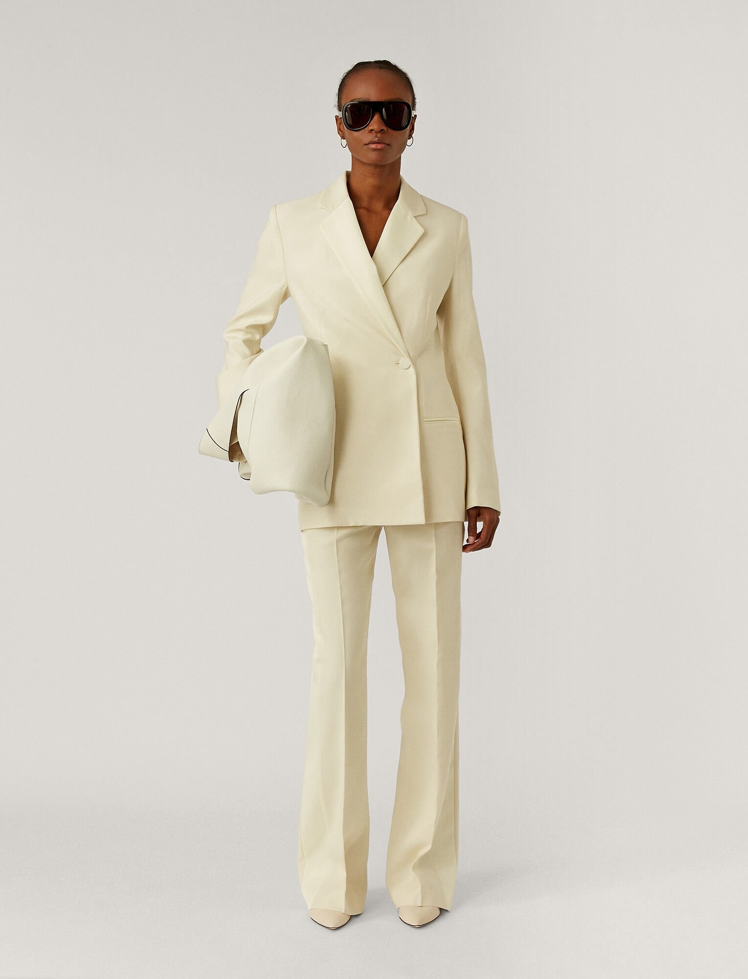 Joplin wool silk tux blazer ivory