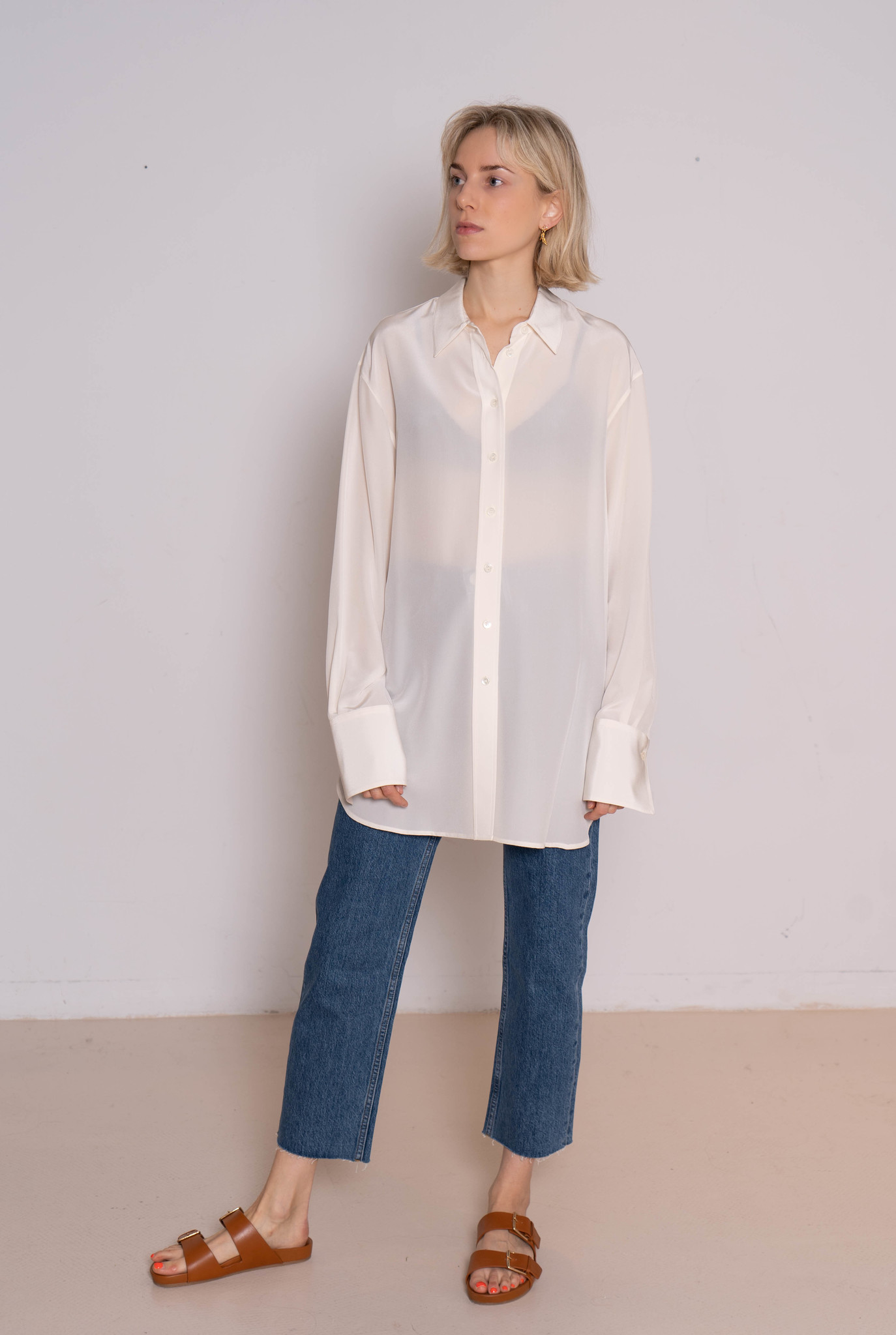 Brooks crepe blouse silk off white