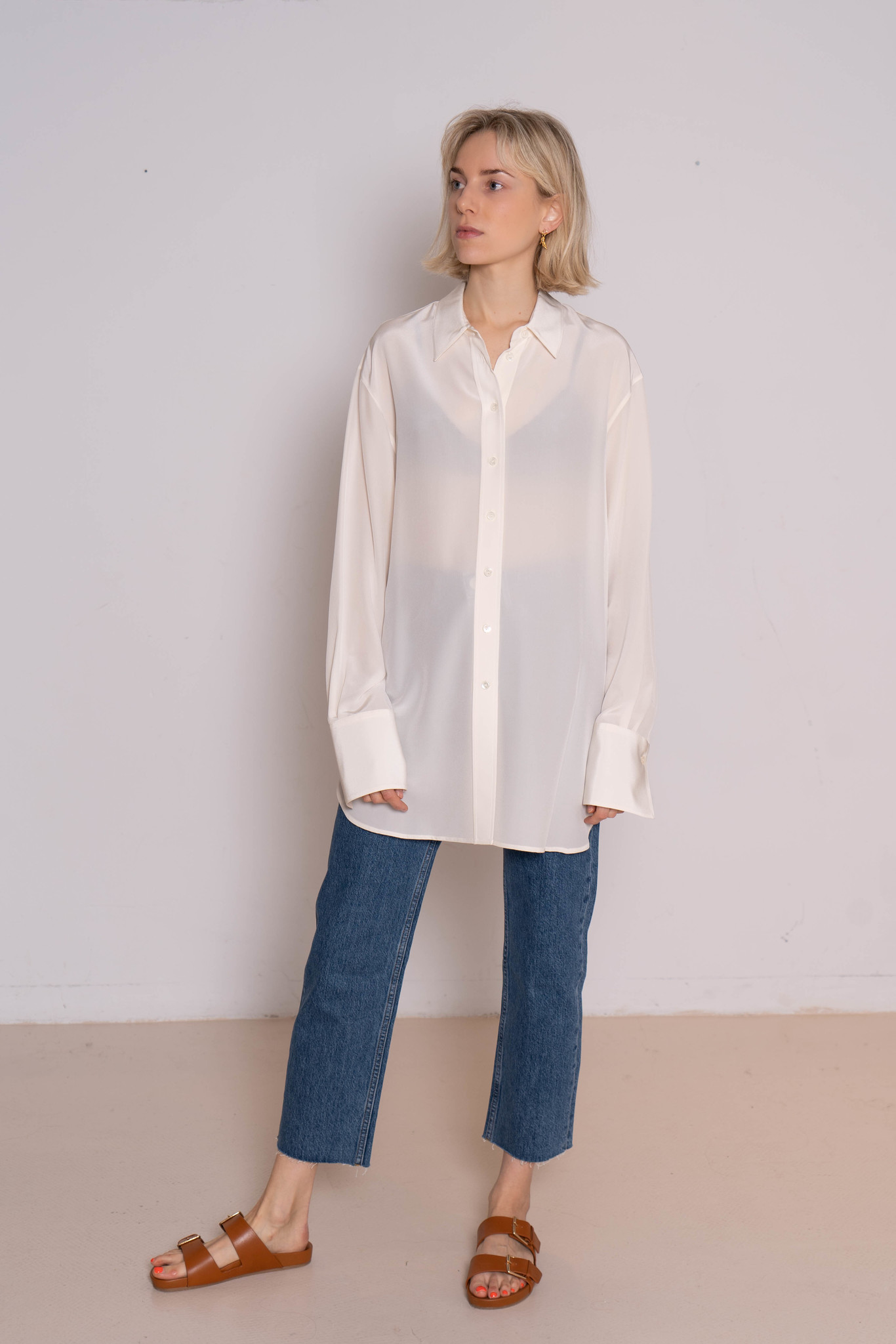 Brooks crepe blouse silk off white